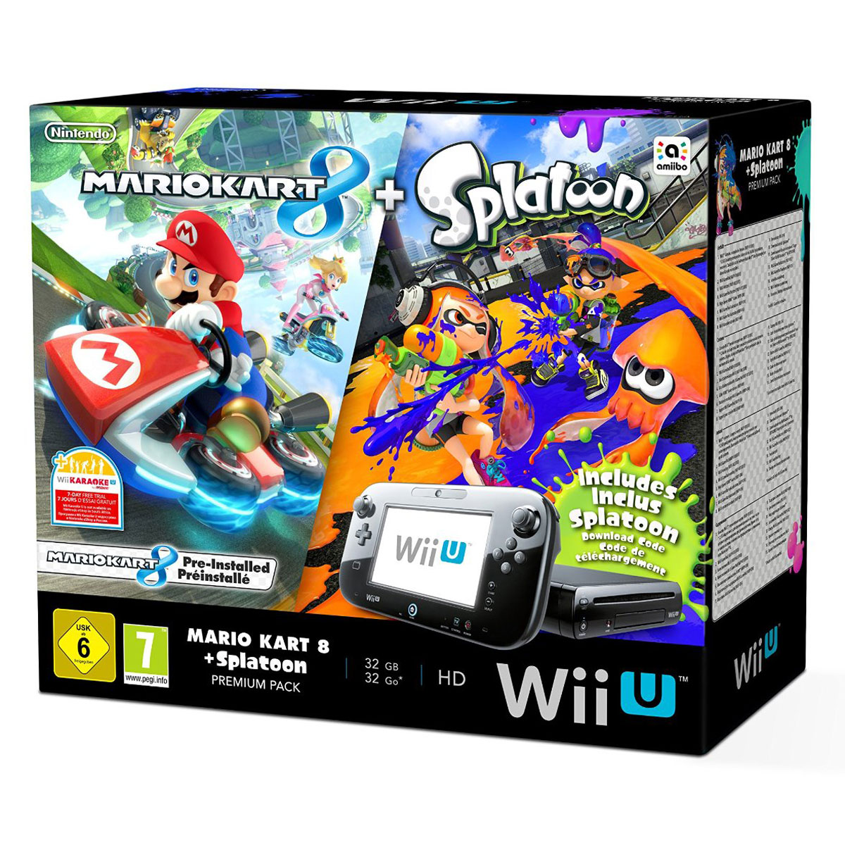 nintendo wii u 32 go premium pack mario kart 8 splatoon nintendo sur. Black Bedroom Furniture Sets. Home Design Ideas