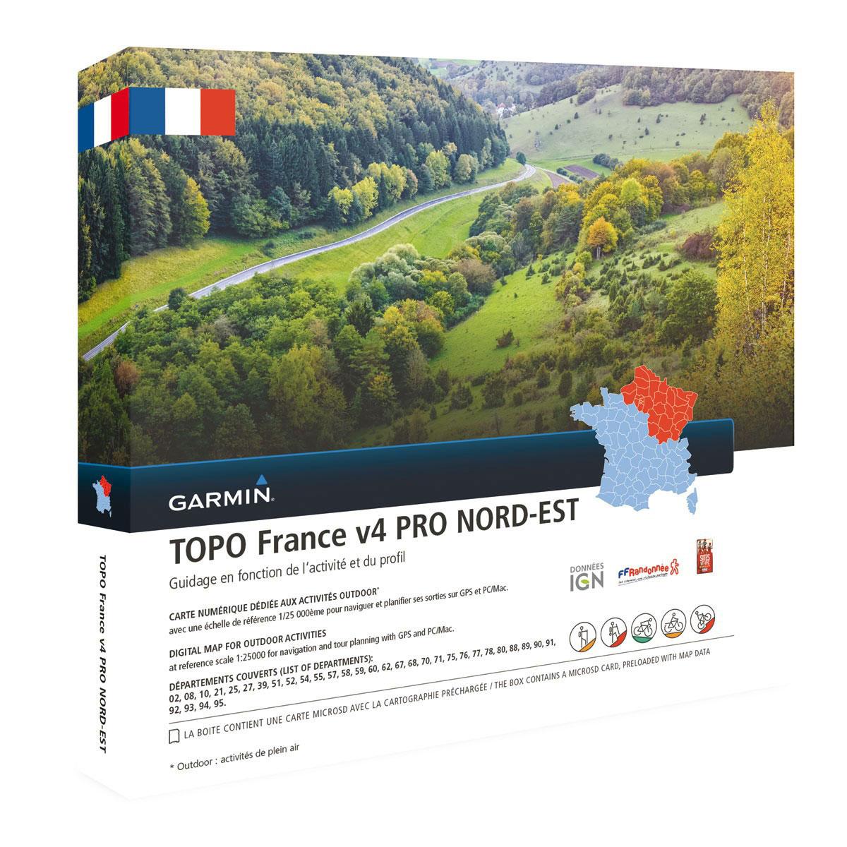 Accessoires GPS Garmin TOPO France v4 Pro - Nord Est Carte de randonnée préchargée sur carte microSD