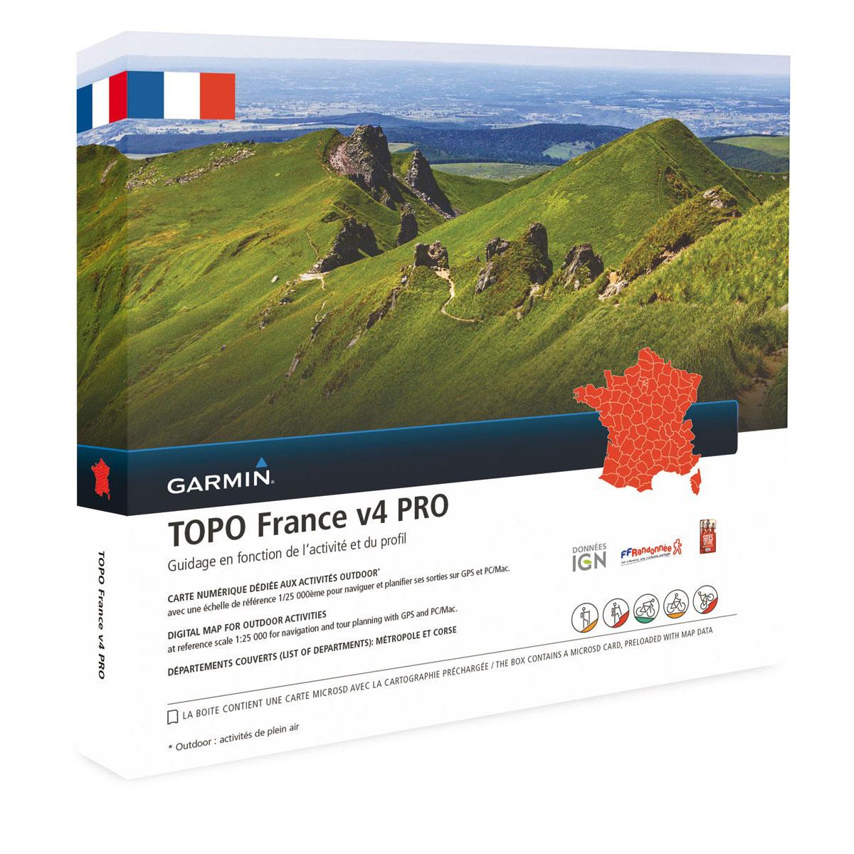 Accessoires GPS Garmin TOPO France v4 Pro - France Carte de randonnée préchargée sur carte microSD