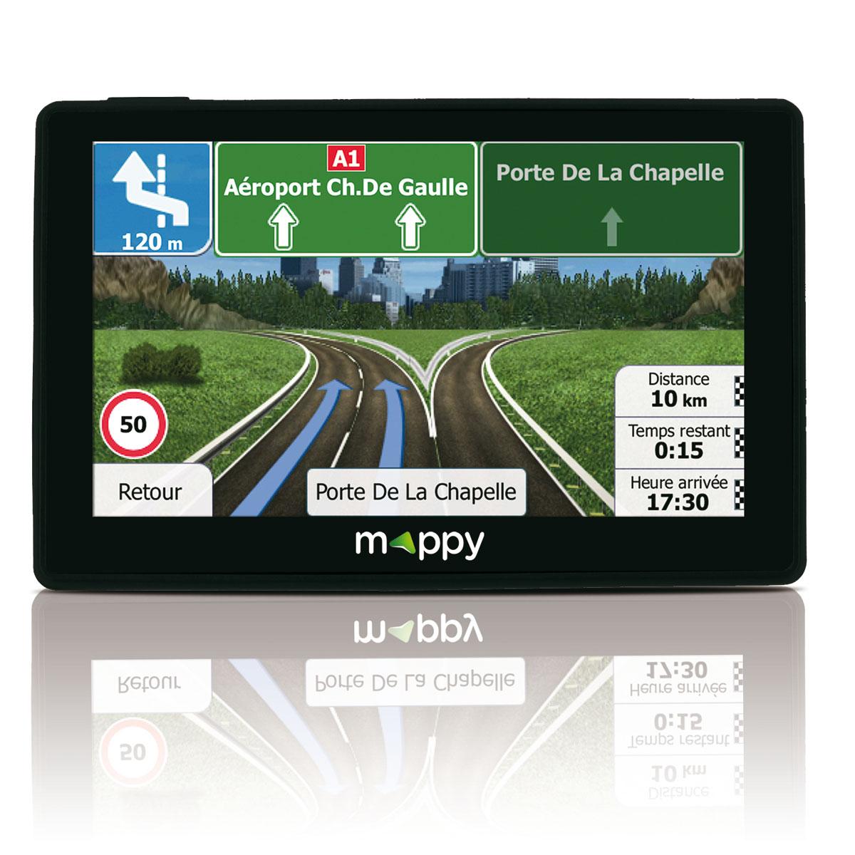 Mappy GPS Iti E438T (Écran : 4,3 Pouces - 24 Pays - Mise à jour gratuite jusqu'à 4 fois par an) Noir