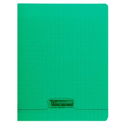 Cahier Calligraphe 8000 Polypro Cahier 96 pages 17 x 22 cm seyes grands carreaux Vert Cahier 96 pages 90g A5+ en reliure piquée avec couverture en polypropylène
