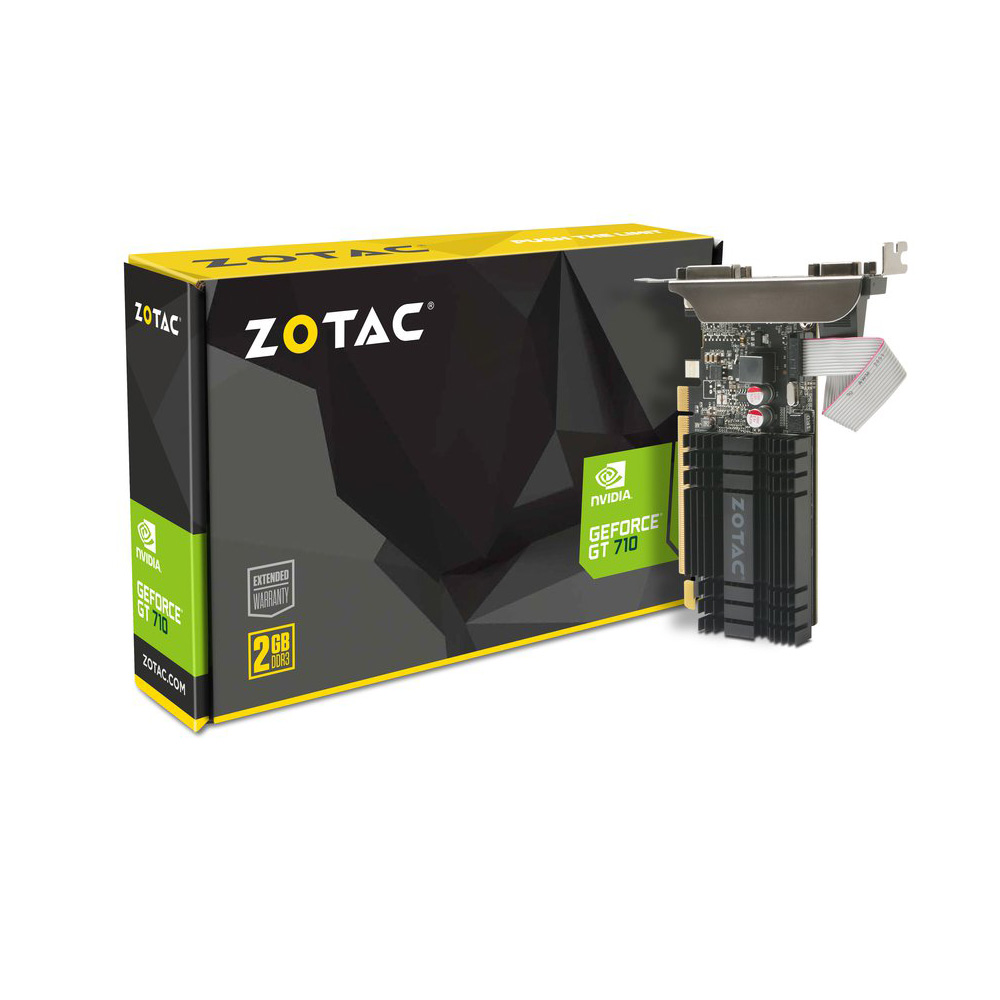Carte graphique ZOTAC GeForce GT 710 2GB 2 Go HDMI/DVI - PCI Express - Refroidissement passif (NVIDIA GeForce avec CUDA GT 710)