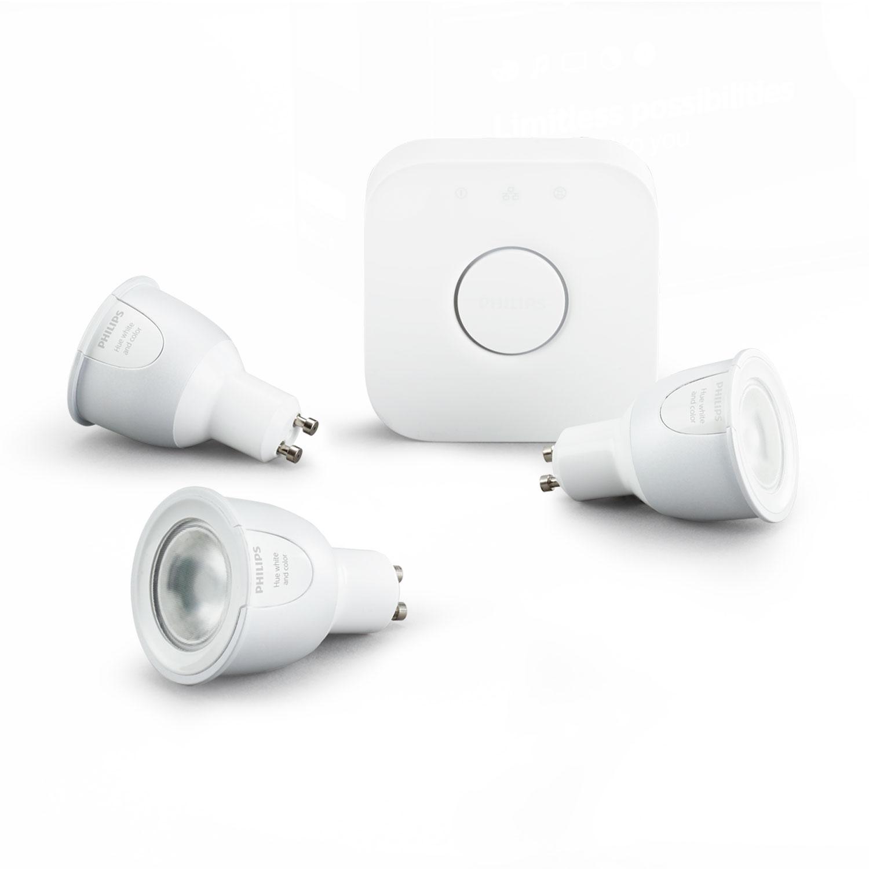 Philips hue white color kit de d marrage gu10 ampoule - Ampoule connectee philips ...