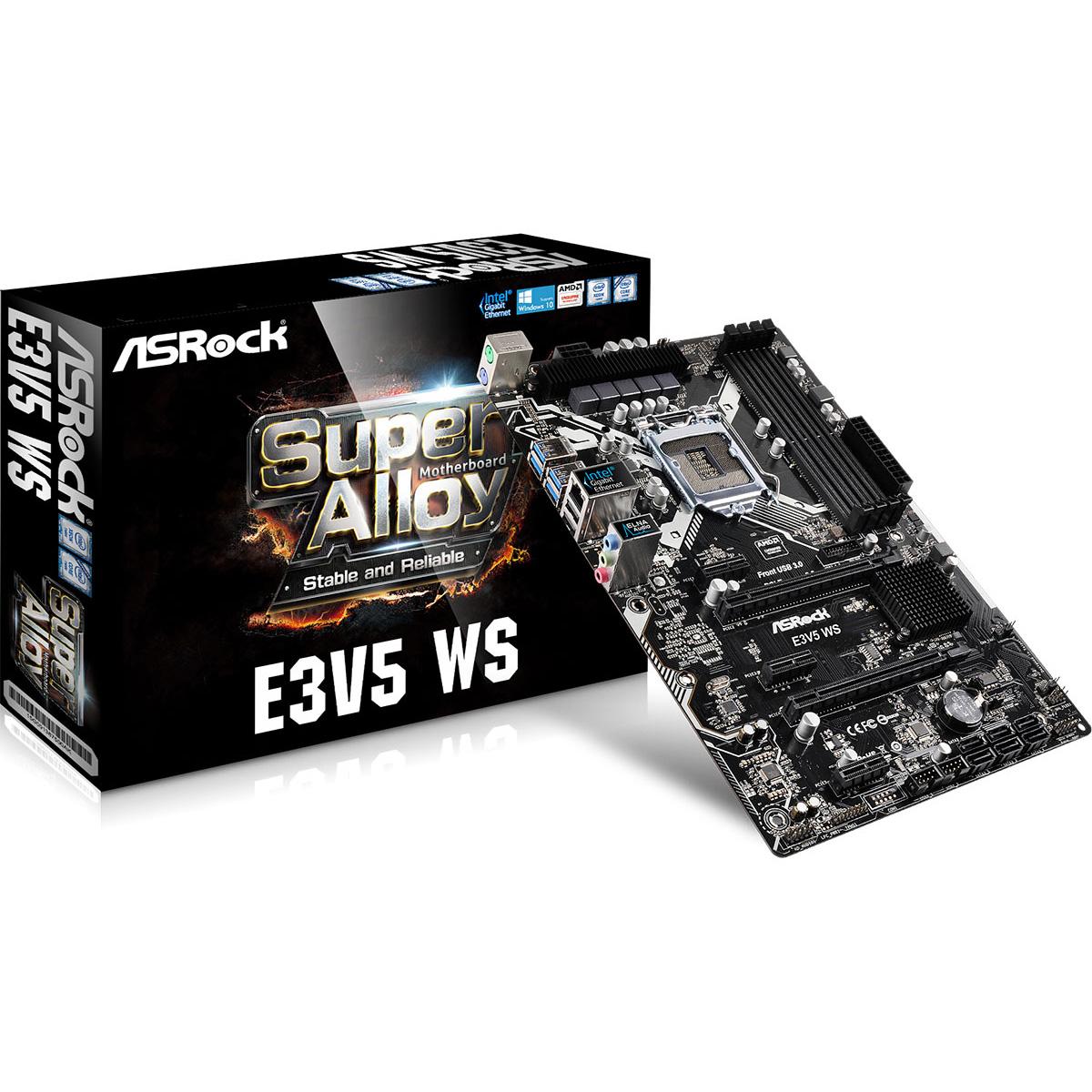 Carte mère ASRock E3V5 WS Carte mère ATX Socket 1151 Intel C232 - SATA 6Gb/s - 2x PCI Express 3.0 16x - 1x Gigabit LAN