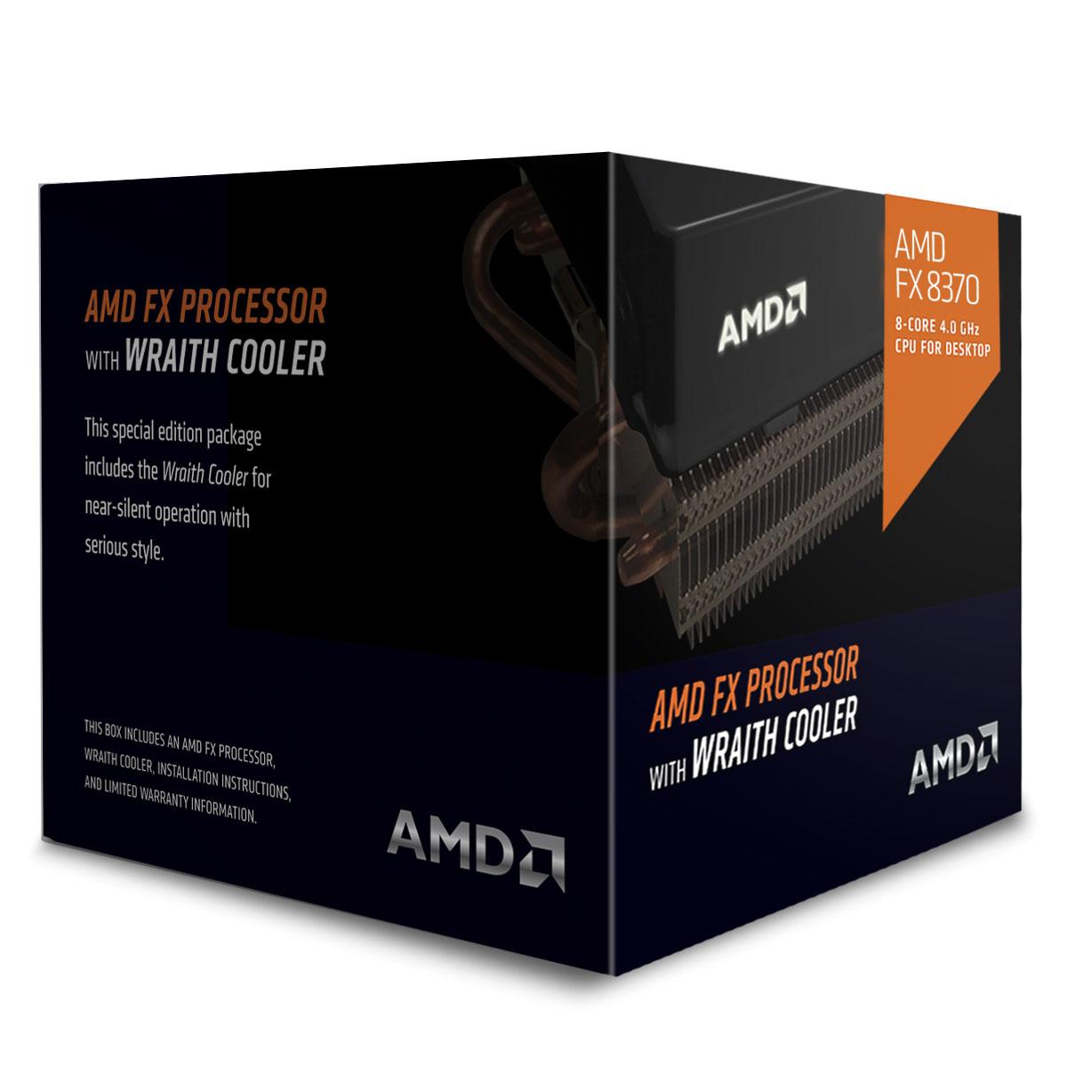 Processeur AMD FX 8370 Wraith Cooler Edition (4.0 GHz) Processeur 8-Core socket AM3+ Cache L3 8 Mo 0.032 micron TDP 125W + ventilateur silencieux hautes performances (version boîte - garantie constructeur 3 ans)