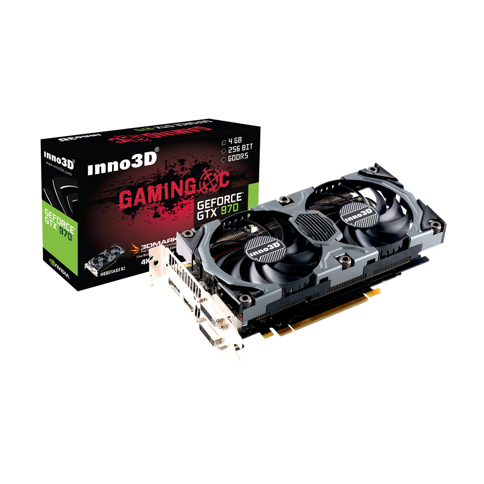 Carte graphique Inno3D GeForce GTX 970 4GB OC 4096 Mo Dual DVI/HDMI/DisplayPort - PCI Express (NVIDIA GeForce avec CUDA GTX 970)