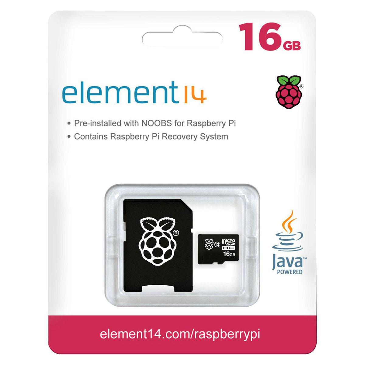 Accessoires Raspberry Pi Raspberry carte microSDHC 16 Go avec NOOBS Carte mémoire avec système d'exploitation pré-chargé pour Raspberry Pi (toutes versions)