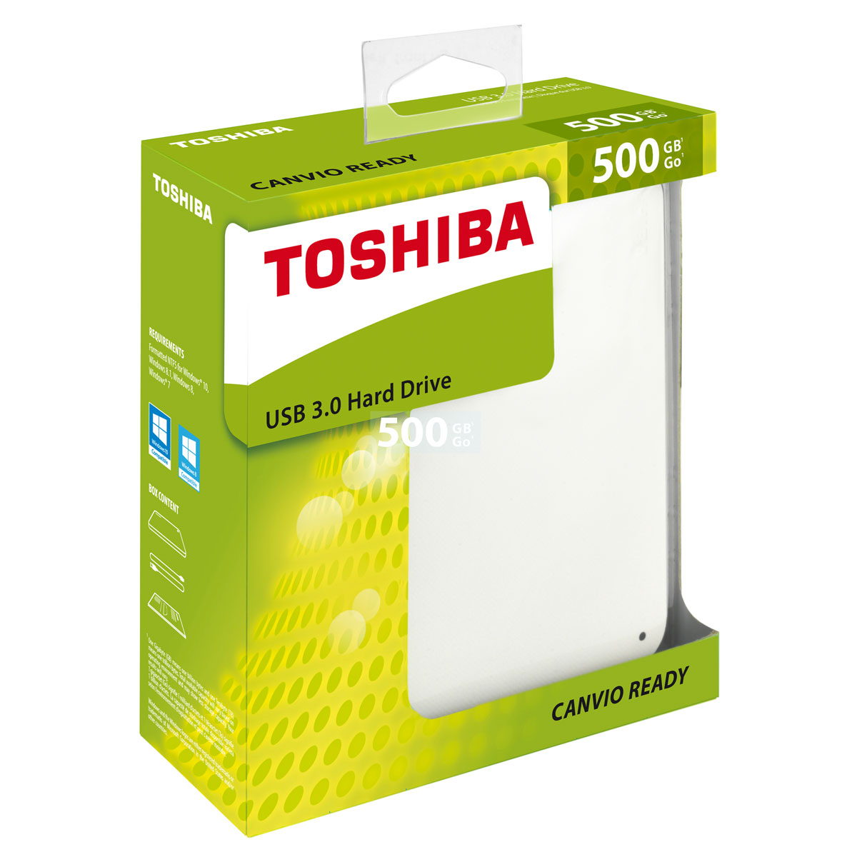 toshiba canvio ready 500 go blanc disque dur externe toshiba sur. Black Bedroom Furniture Sets. Home Design Ideas