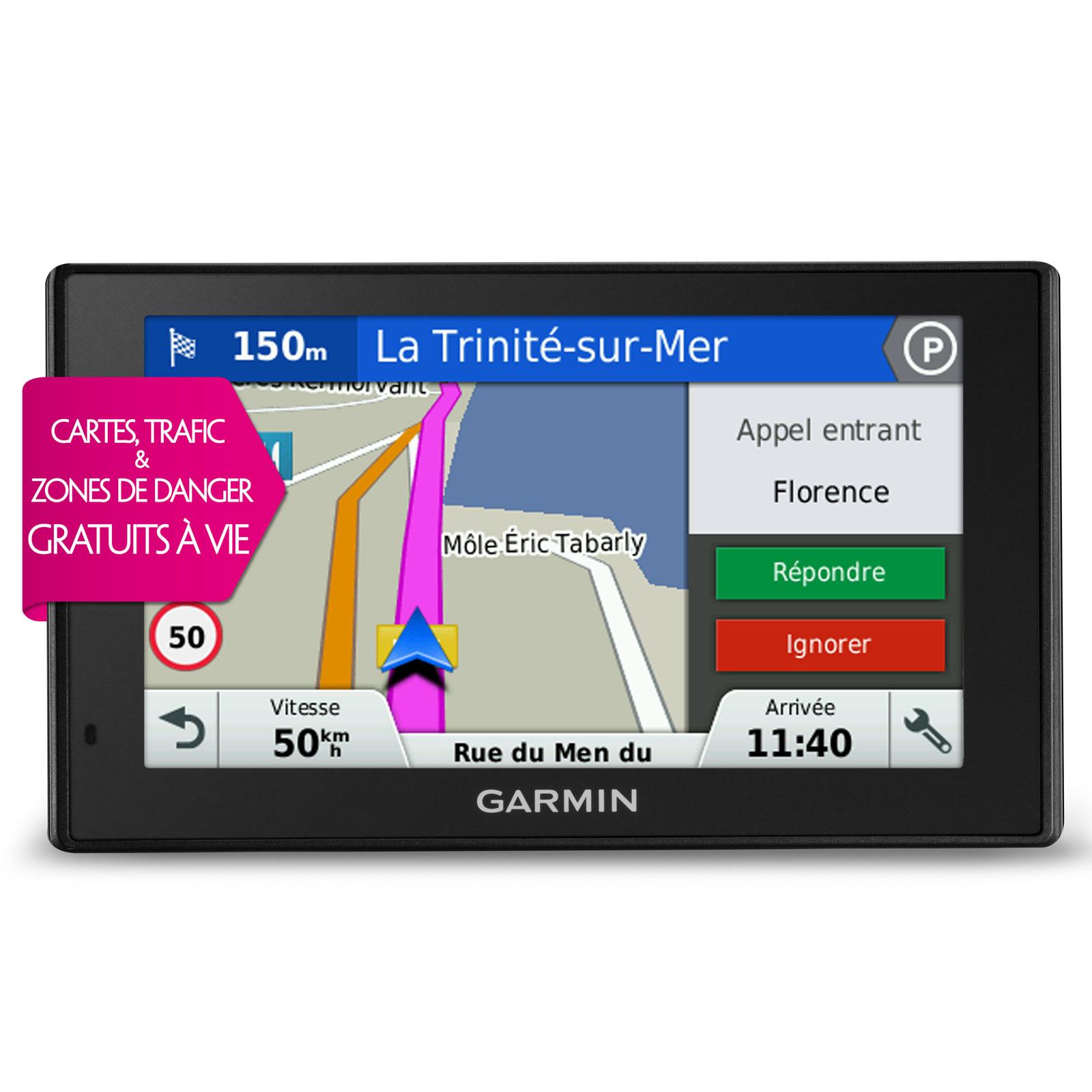 "GPS Garmin DriveSmart 50LMT GPS 45 pays d'Europe Ecran 5"""