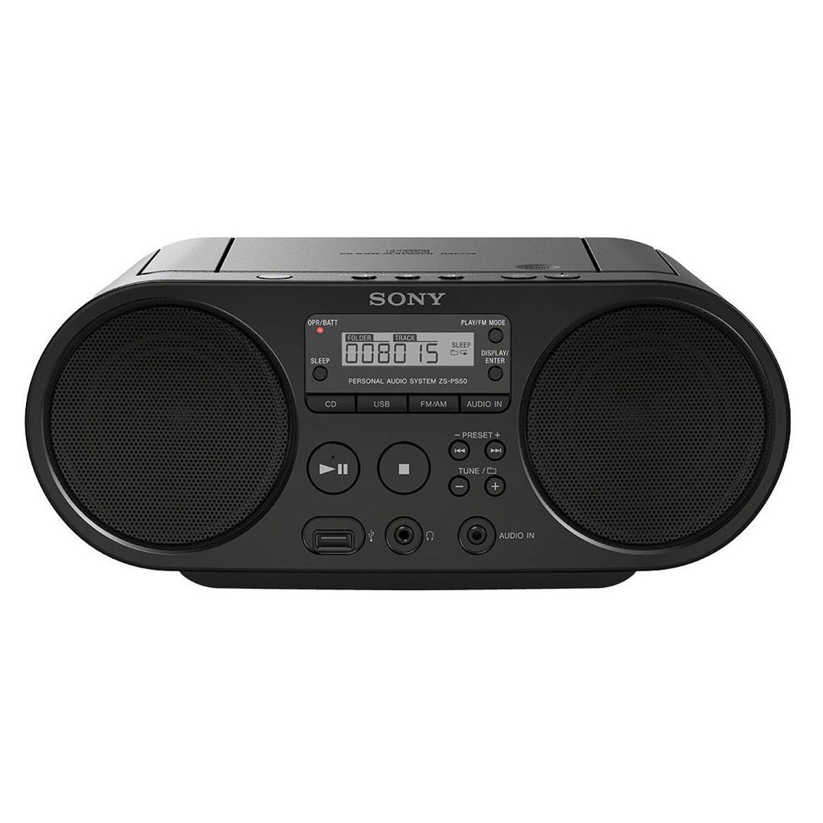1c3f27383c6c9b Radio   radio réveil Sony ZS-PS50 Noir Radio CD portable MP3 WMA USB