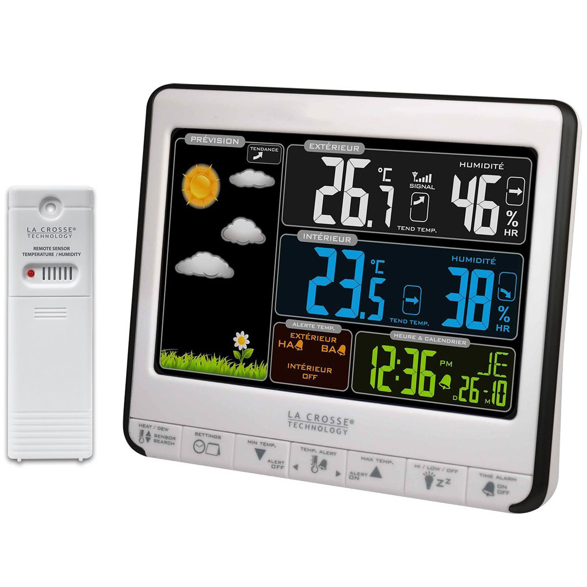 La crosse technology ws6826whi bla station m t o la for Station meteo temperature interieure et exterieure