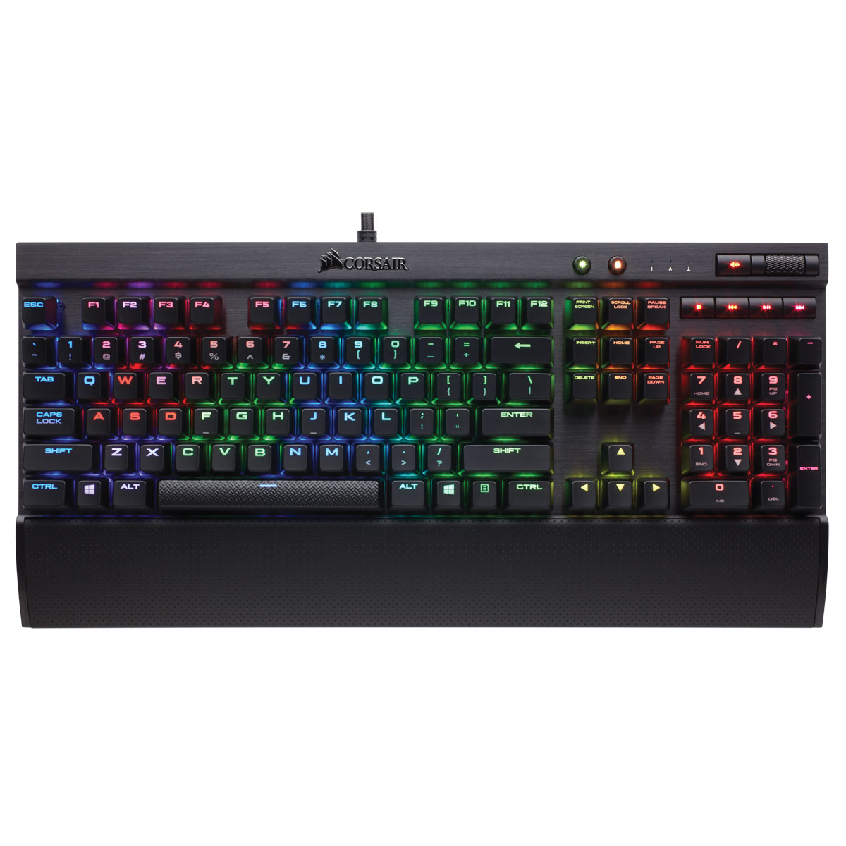 Clavier PC Corsair Gaming K70 LUX RGB (Cherry MX Red) Clavier gaming - interrupteurs mécaniques rouges (switches Cherry MX Red) - rétroéclairage RGB - touches multimédia - AZERTY Français