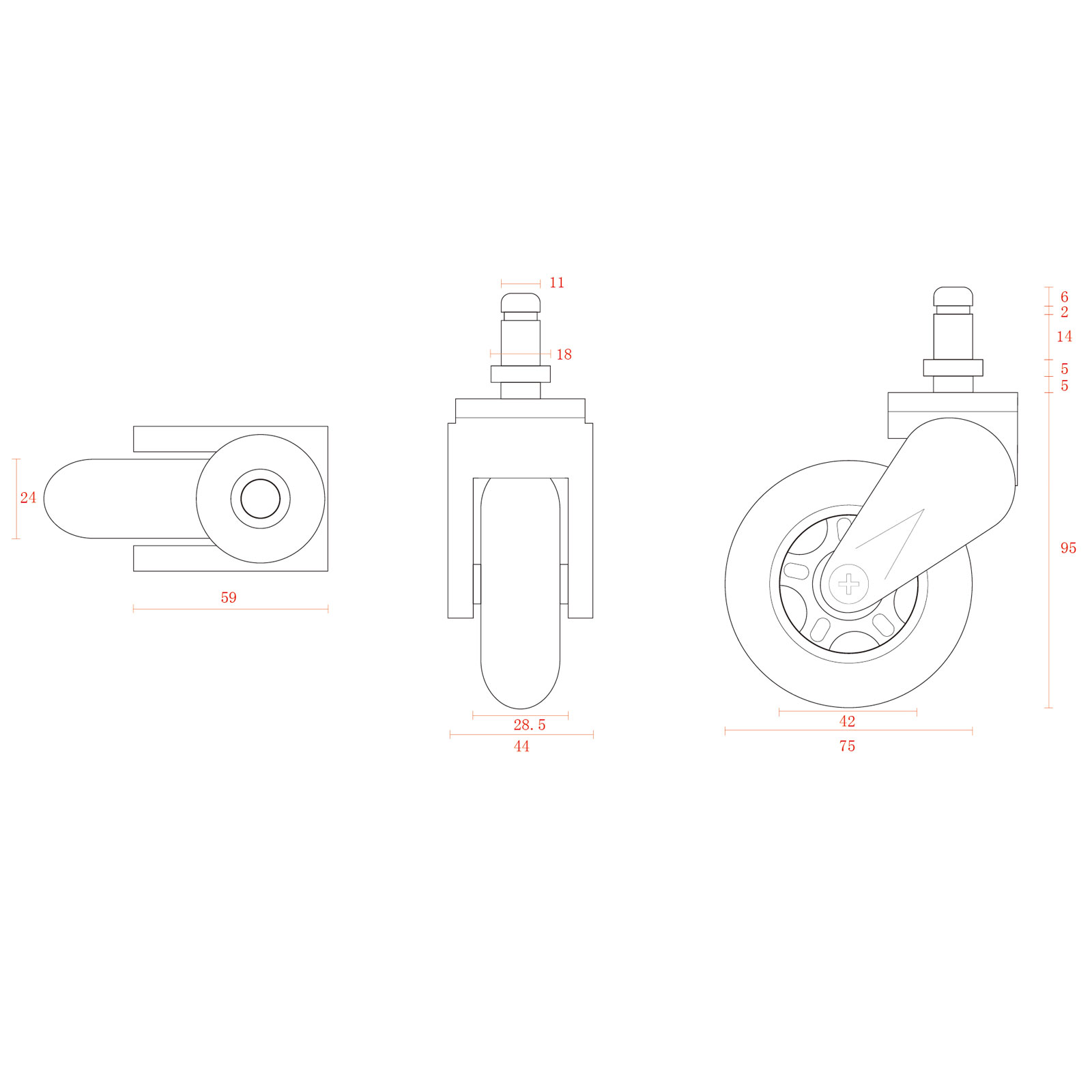 Akracing Rollerblade Casters Rouge Autres Accessoires Jeu