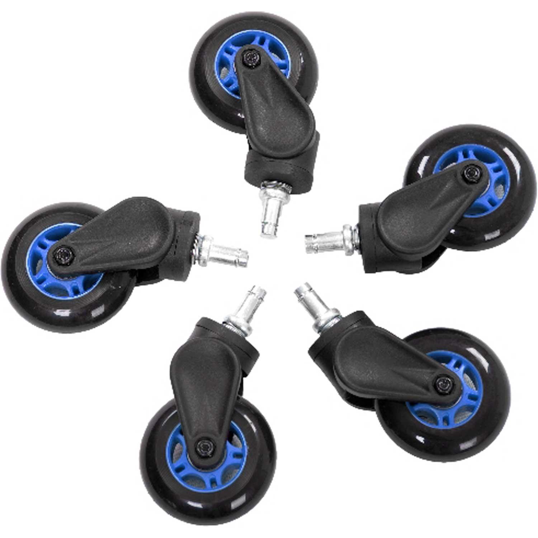 Autres accessoires jeu AKRacing Rollerblade Casters (bleu) Lot de 5 roulettes en caoutchouc compatibles tapis et parquet pour siège AKRacing