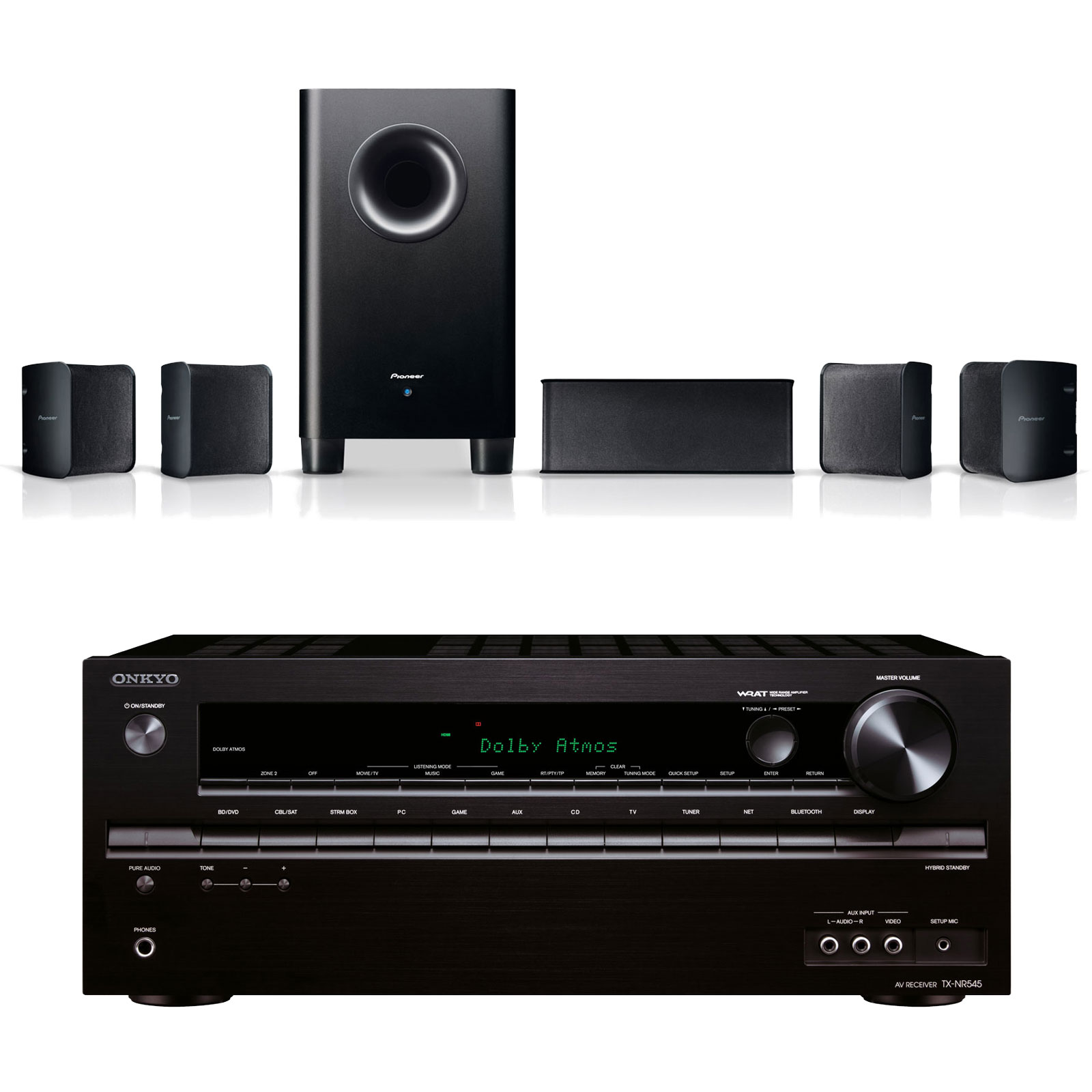 onkyo tx nr545 noir pioneer s hs100 ensemble home cin ma onkyo sur. Black Bedroom Furniture Sets. Home Design Ideas