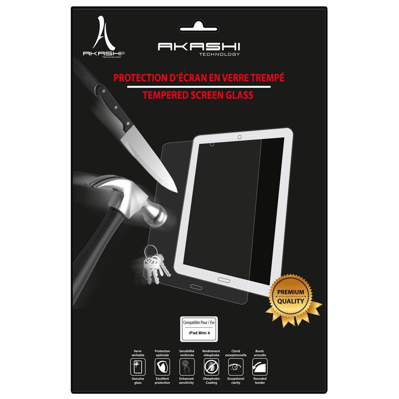 Accessoires Tablette Akashi Verre Trempé Premium iPad Mini 4 Film de protection en verre trempé pour iPad Mini 4