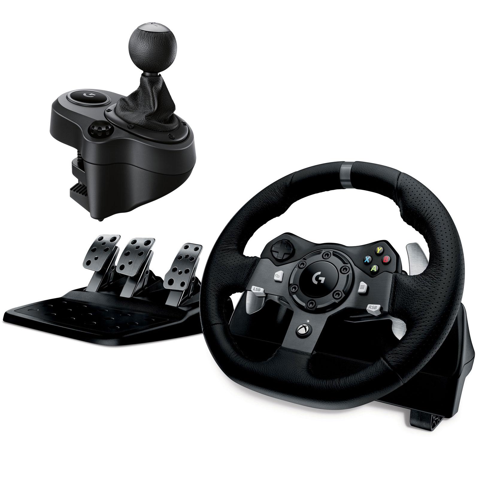 Volant PC Logitech G920 Driving Force Racing Wheel Volant + Pédalier (pour PC/ Xbox One) + Boite à 6 vitesses pour Logitech G29 et G920