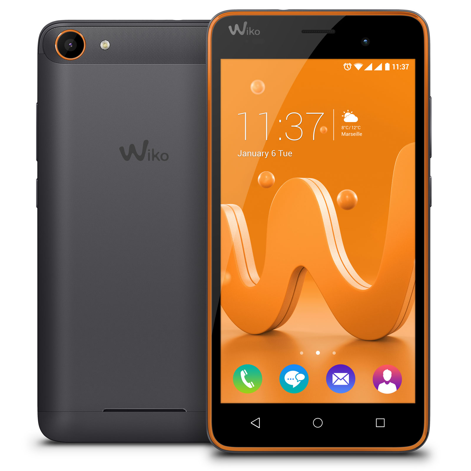 wiko jerry gris orange mobile smartphone wiko sur. Black Bedroom Furniture Sets. Home Design Ideas
