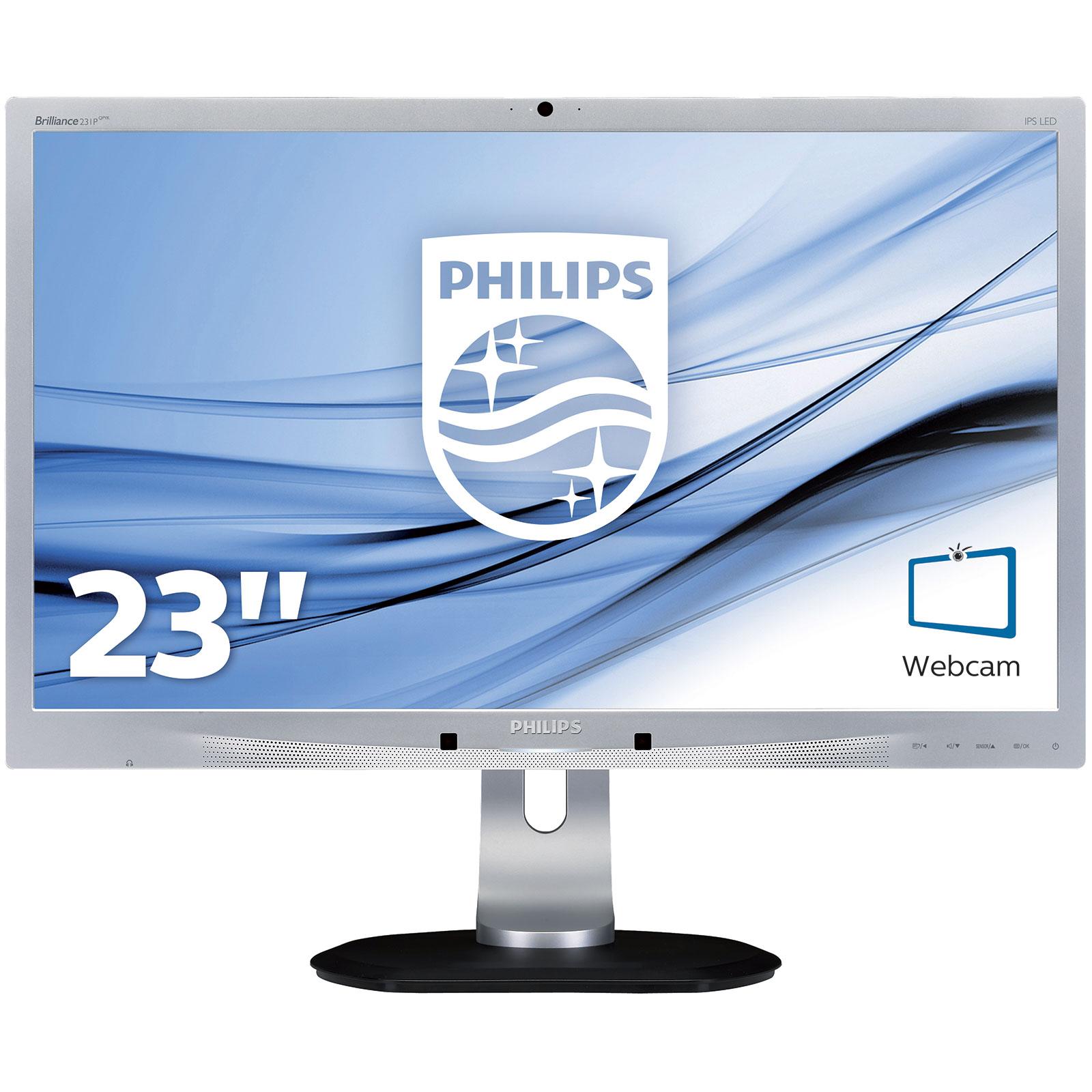 "Ecran PC Philips 23"" LED - 231P4QPYKES 1920 x 1080 pixels - 7 ms - Format large 16/9 - Full HD - Dalle IPS - DisplayPort - Hub USB - Webcam - Argent"