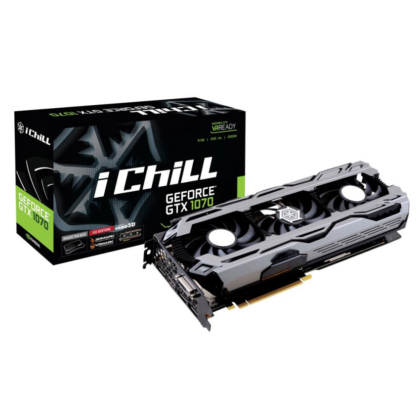 Carte graphique INNO3D iChiLL GeForce GTX 1070 X3 8192 Mo DVI/HDMI/Tri DisplayPort - PCI Express (NVIDIA GeForce avec CUDA GTX 1070)