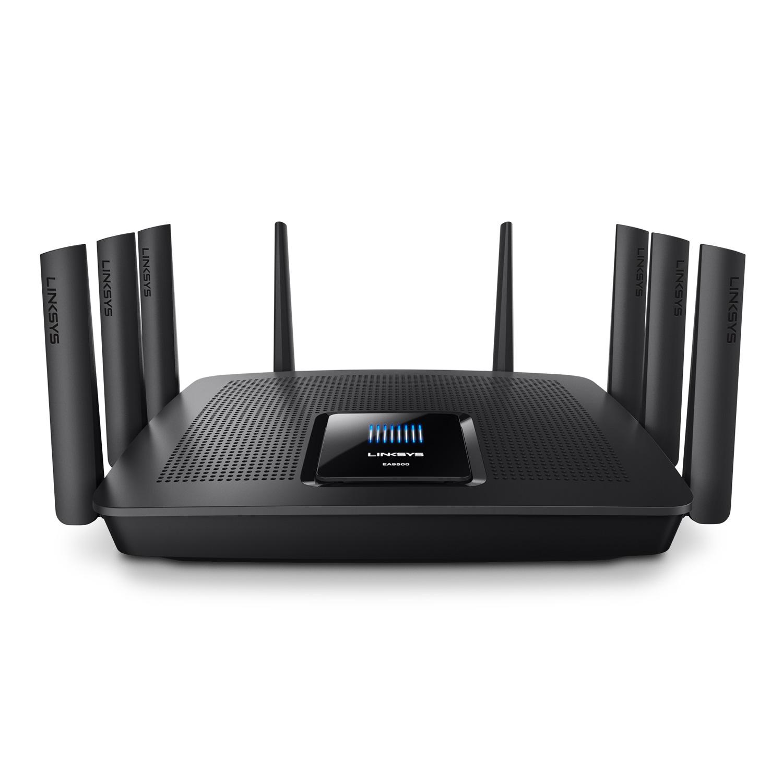 Modem & routeur Linksys EA9500 Routeur sans fil Tri Band Wi-Fi AC MU-MiMo 5400 Mbps (1000 + 2 x 2167 Mbps) + 8 ports LAN 10/100/1000 Mbps