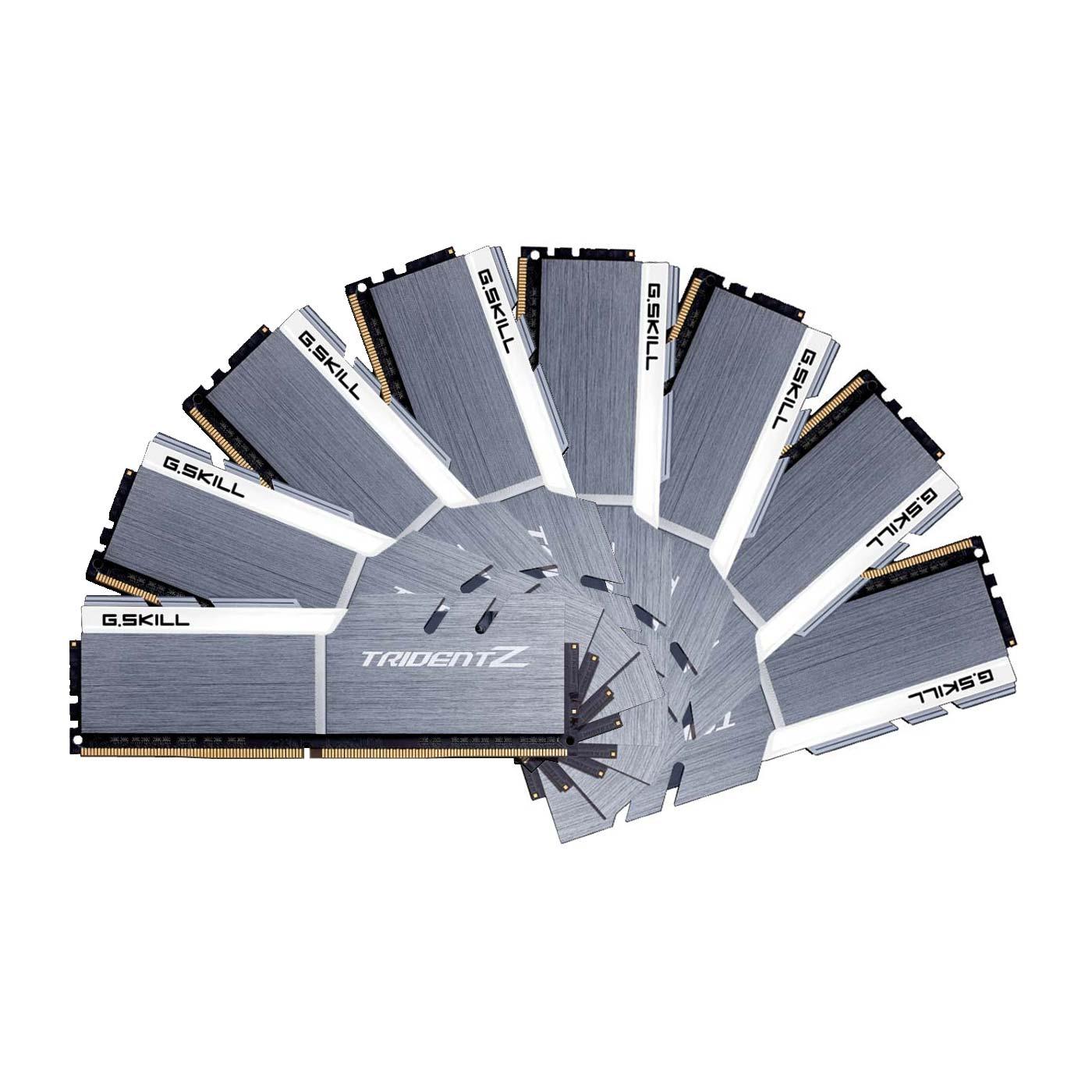 Mémoire PC G.Skill Trident Z 64 Go (8x 8 Go) DDR4 3200 MHz CL15 Kit Quad Channel 8 barrettes de RAM DDR4 PC4-25600 - F4-3200C15Q2-64GTZSW - Blanc et argent (garantie 10 ans par G.Skill)