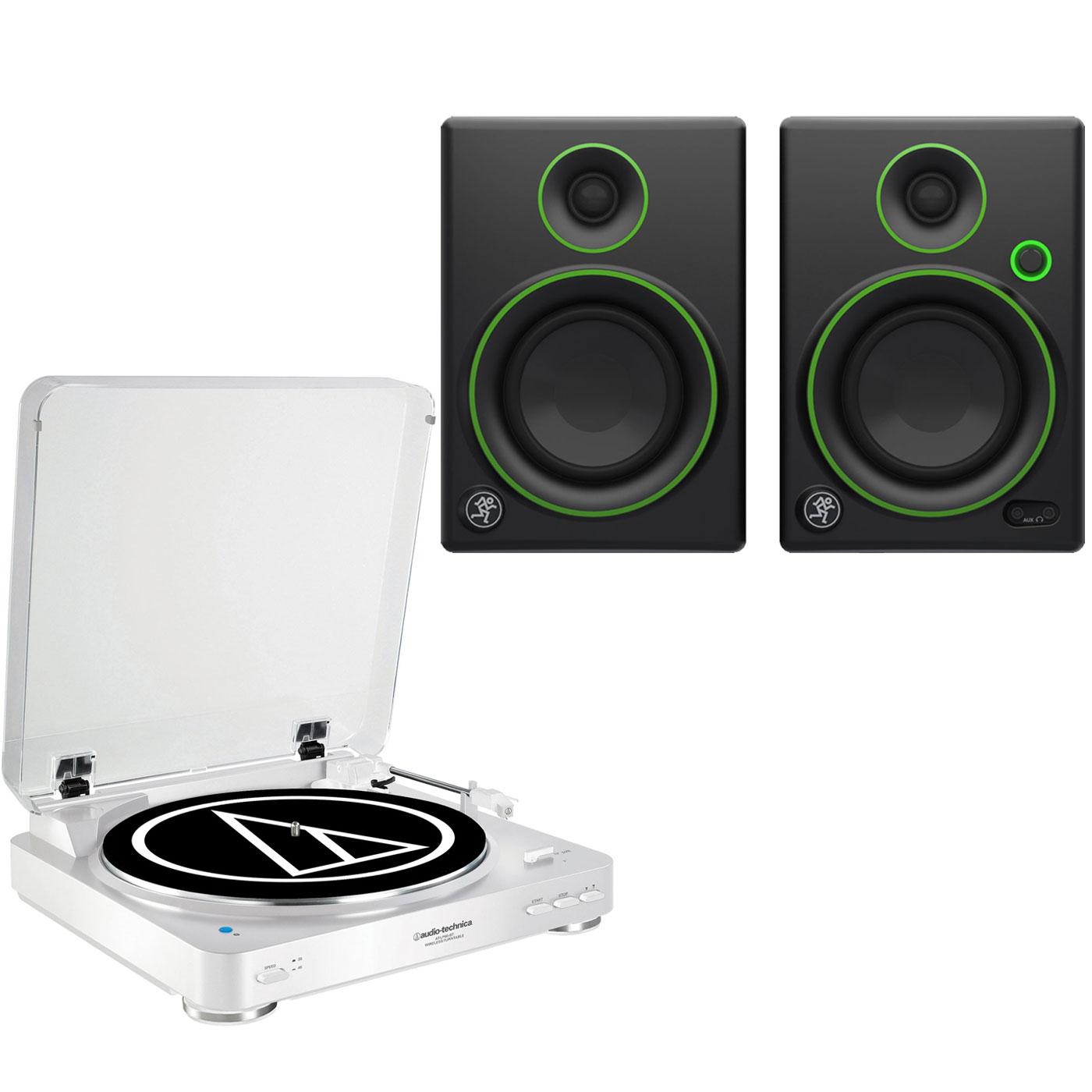 """Ensemble Hifi Audio-Technica AT-LP60BT Blanc + Mackie CR4 Platine vinyle à 2 vitesses (33-45 trs/min) avec fonction Bluetooth + Enceintes de monitoring 4"""" (par paire)"""