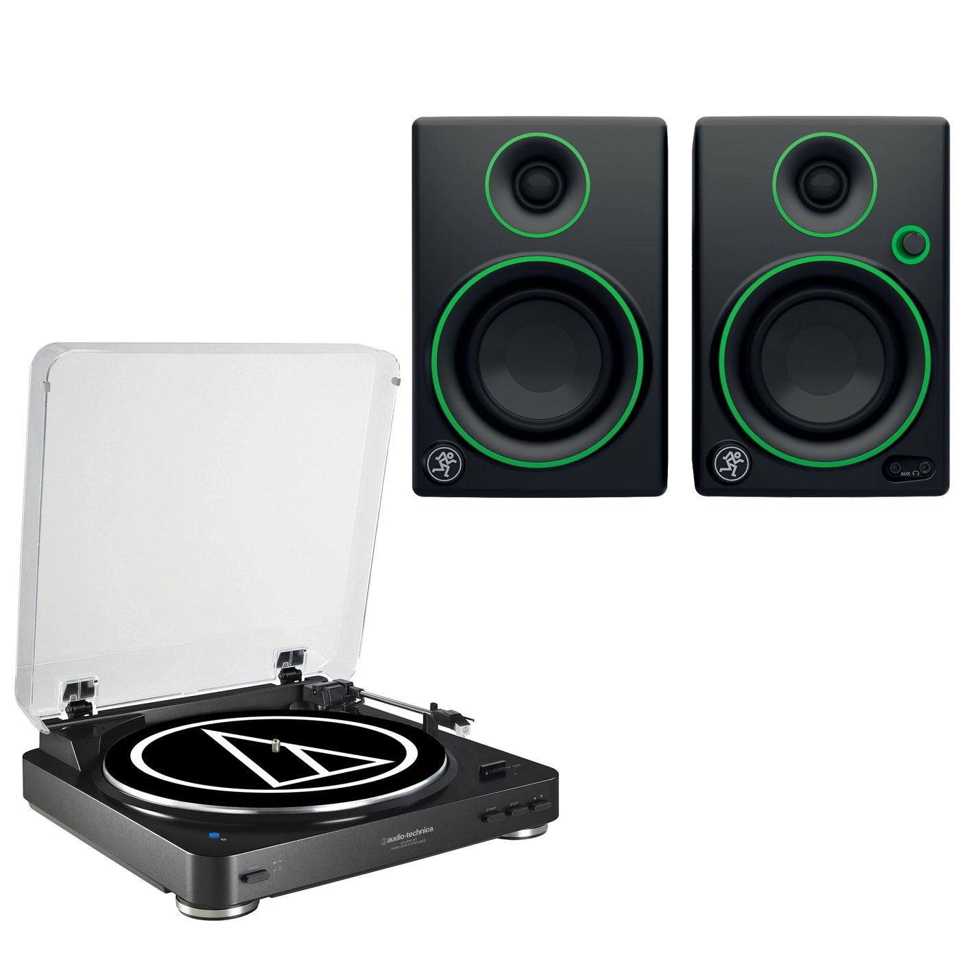 """Ensemble Hifi Audio-Technica AT-LP60BT Noir + Mackie CR3 Platine vinyle à 2 vitesses (33-45 trs/min) avec fonction Bluetooth + Enceintes de monitoring 3"""" (par paire)"""