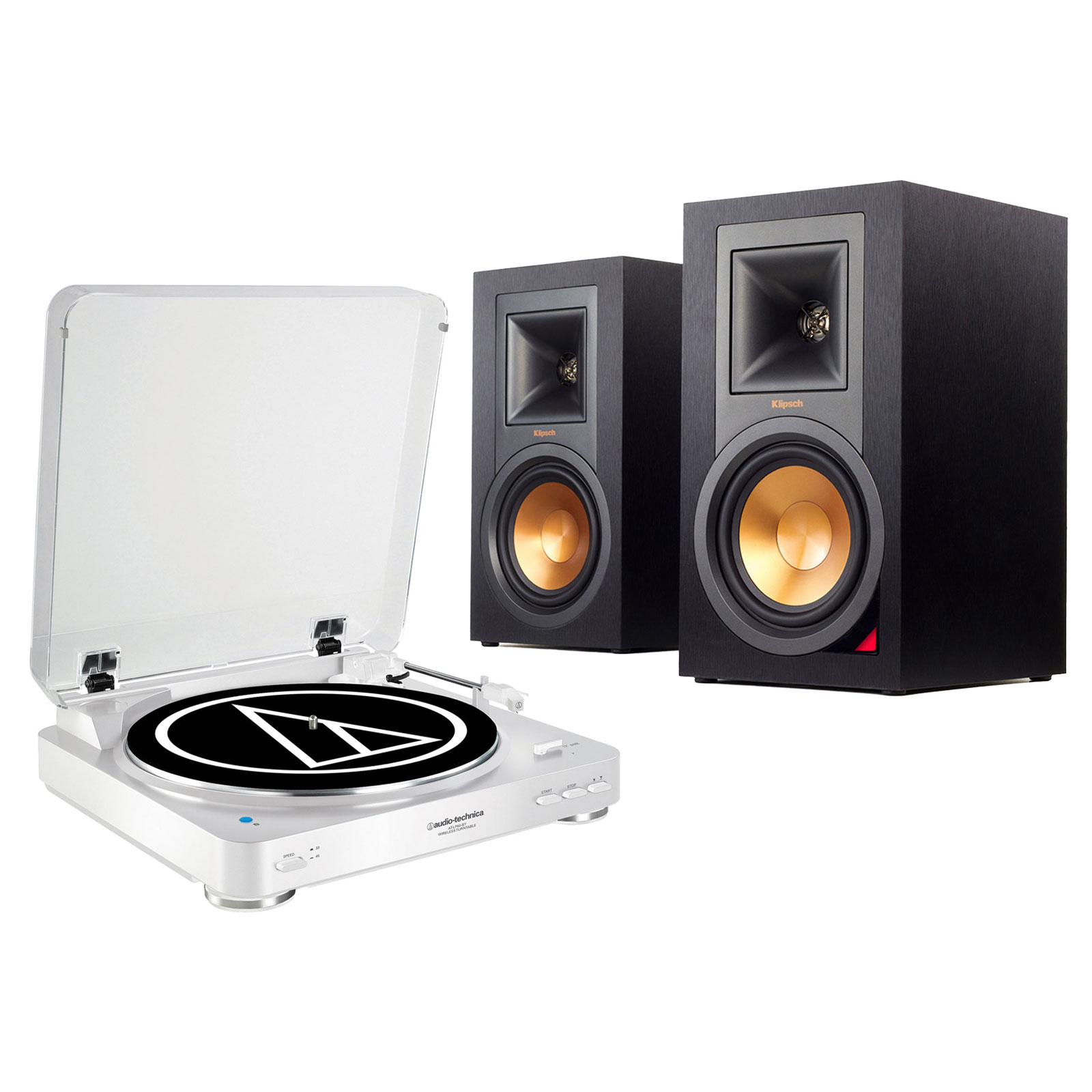 audio technica at lp60bt blanc klipsch r 15pm ensemble. Black Bedroom Furniture Sets. Home Design Ideas