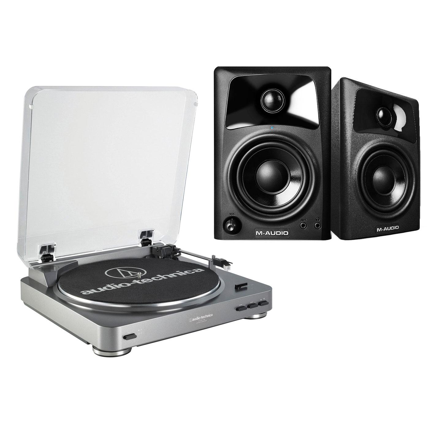 Platine vinyle Audio-Technica AT-LP60USB + M-Audio AV 32 Platine vinyle à 2 vitesses (33-45 trs/min) + Enceintes de monitoring actives 2.0