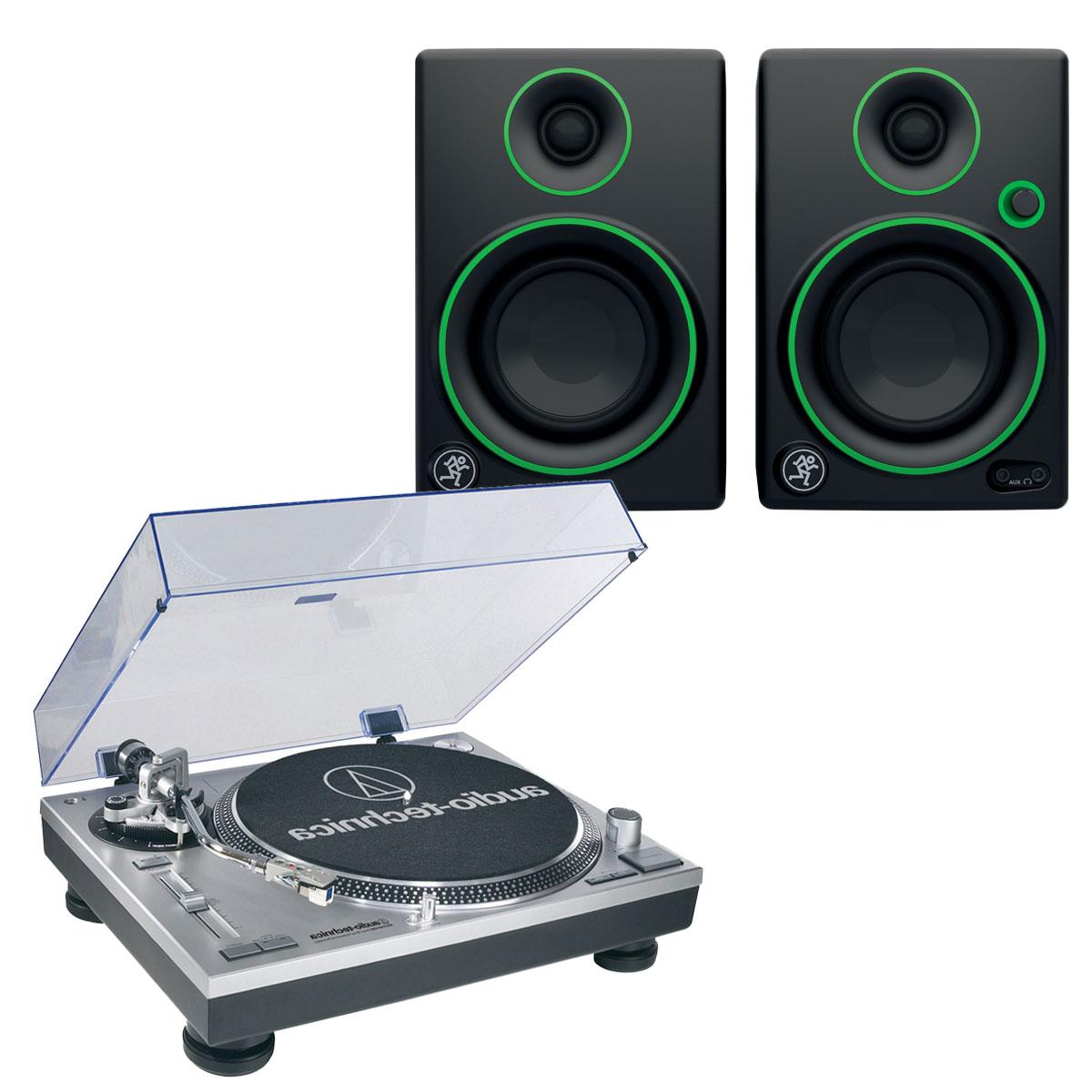 Platine vinyle Audio-Technica AT-LP120USBHC + Mackie CR3 Platine vinyle à 3 vitesses (33-45-78 trs/min) avec port USB + Enceintes de monitoring 3'' (par paire)