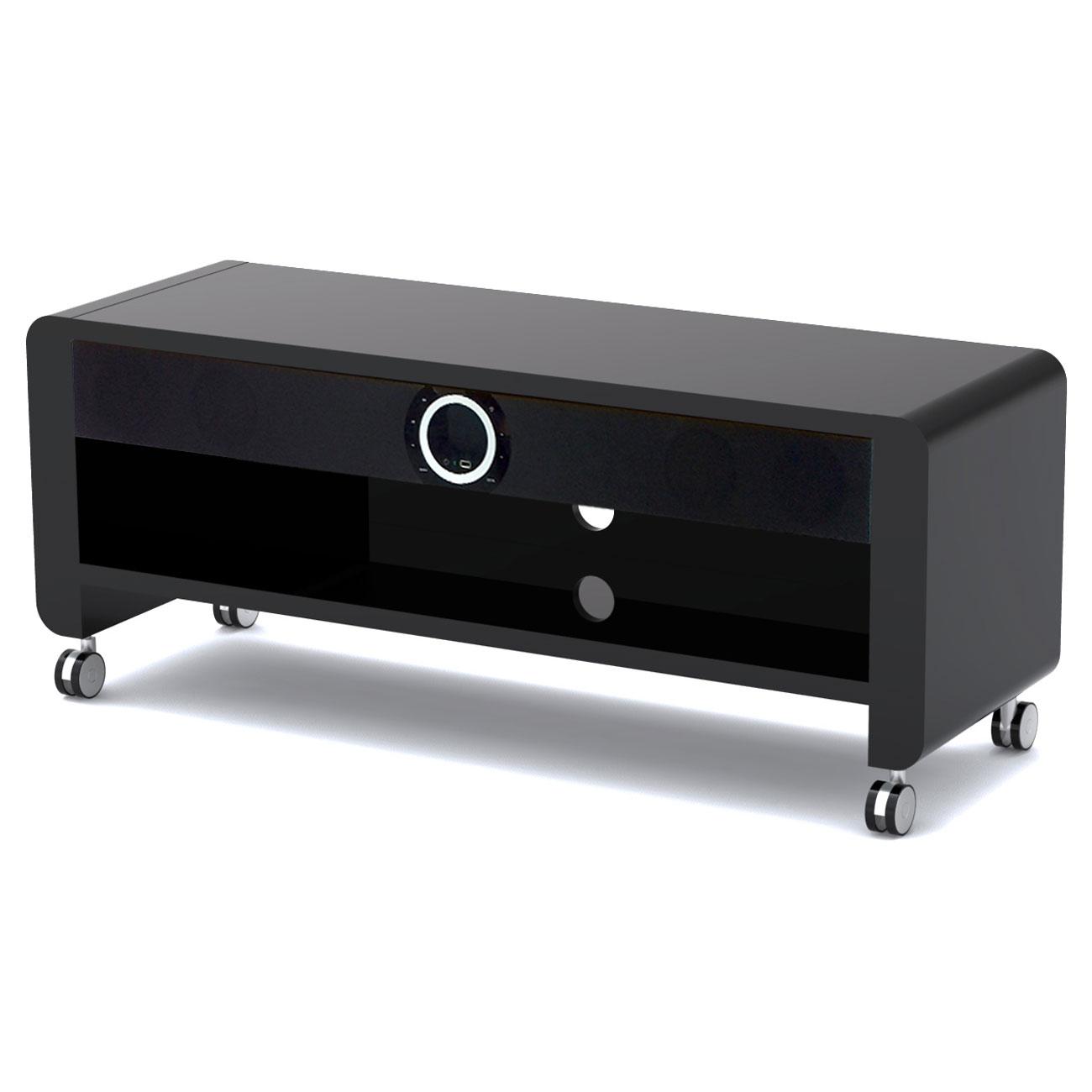 Prestige moon noir meuble tv prestige sur ldlc for Meuble mural videoprojecteur