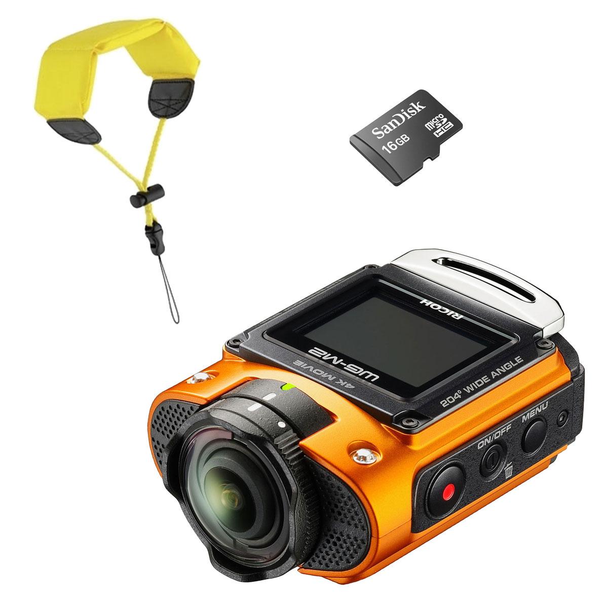 Ricoh Wg M2 Orange Sandisk Micro Sdhc 16 Go Dragonne
