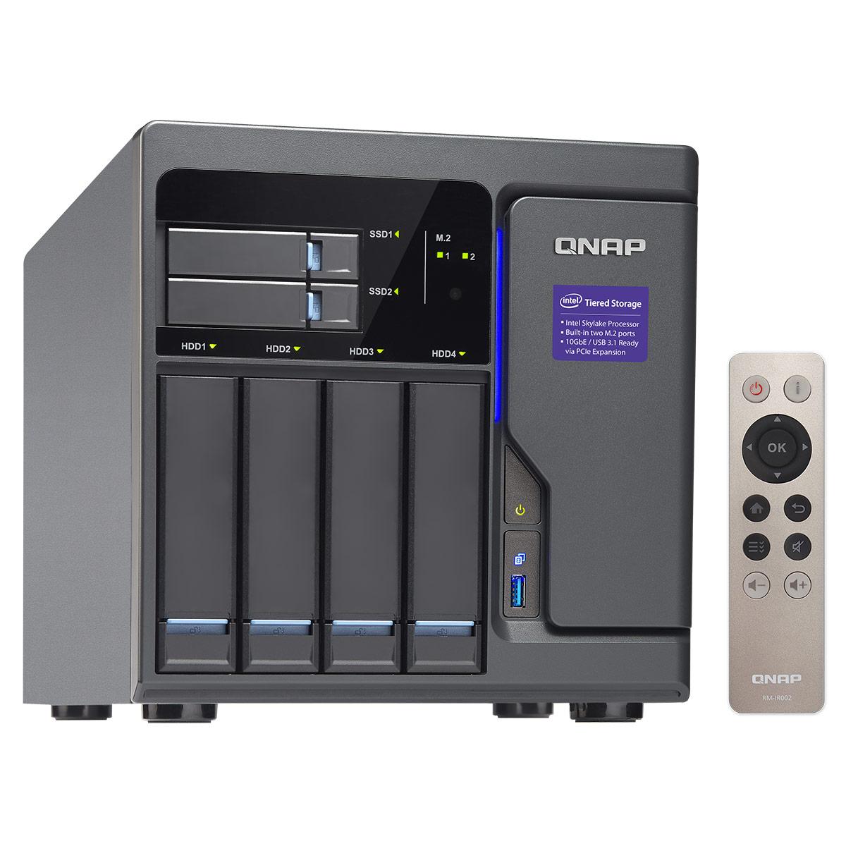 """Serveur NAS QNAP TVS-682-i3-8G Serveur NAS 4 baies 3.5""""/2.5"""" + 2 baies 2.5"""" avec processeur Dual-Core Intel Core i3-6100 3.7 GHz - RAM 8 Go (sans disque dur)"""