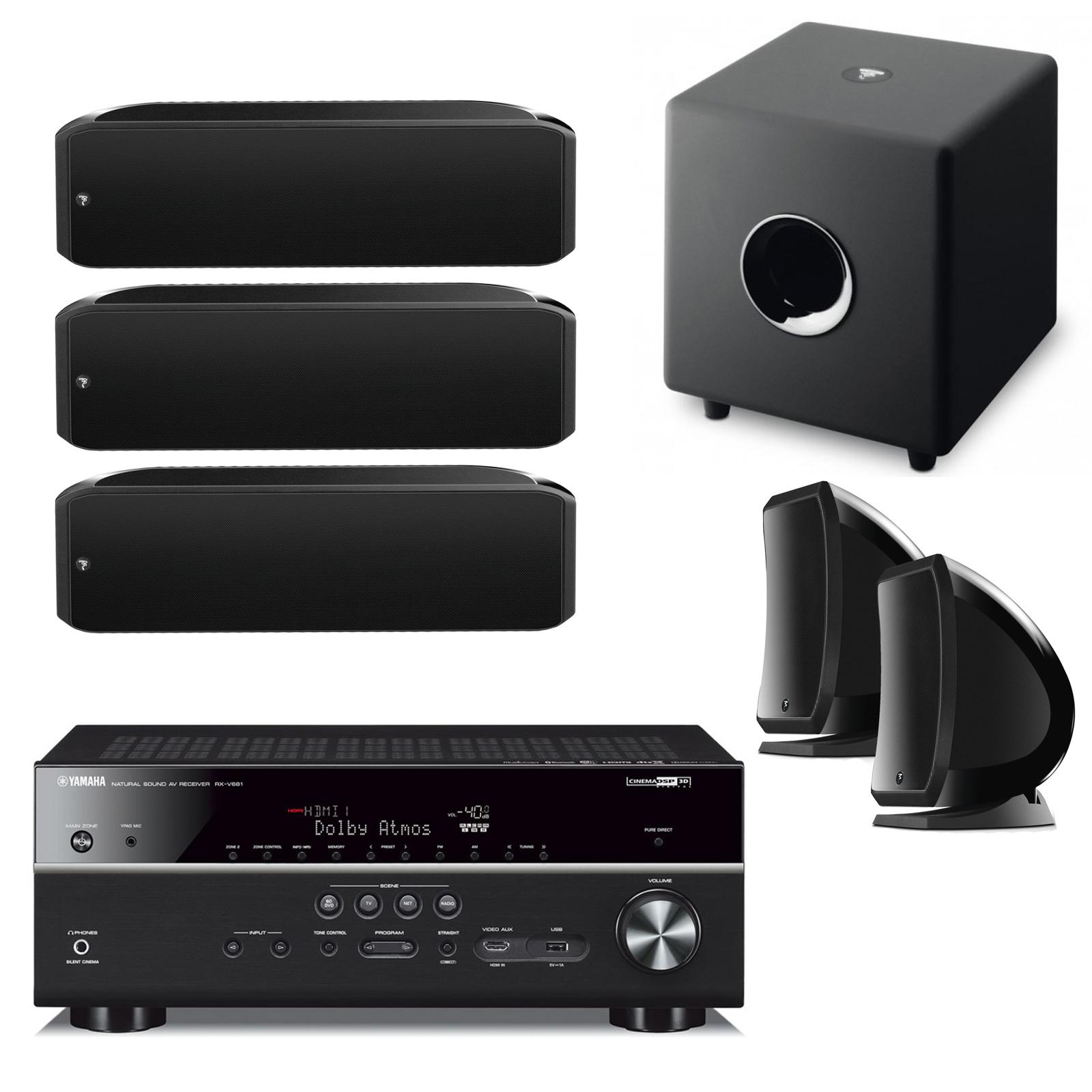 Yamaha Musiccast Rx V681 Noir Focal 5 1 Sib Xl Sib Et Cub 3  # Modeles De Meubles Home Cinema Et Bibliotheque
