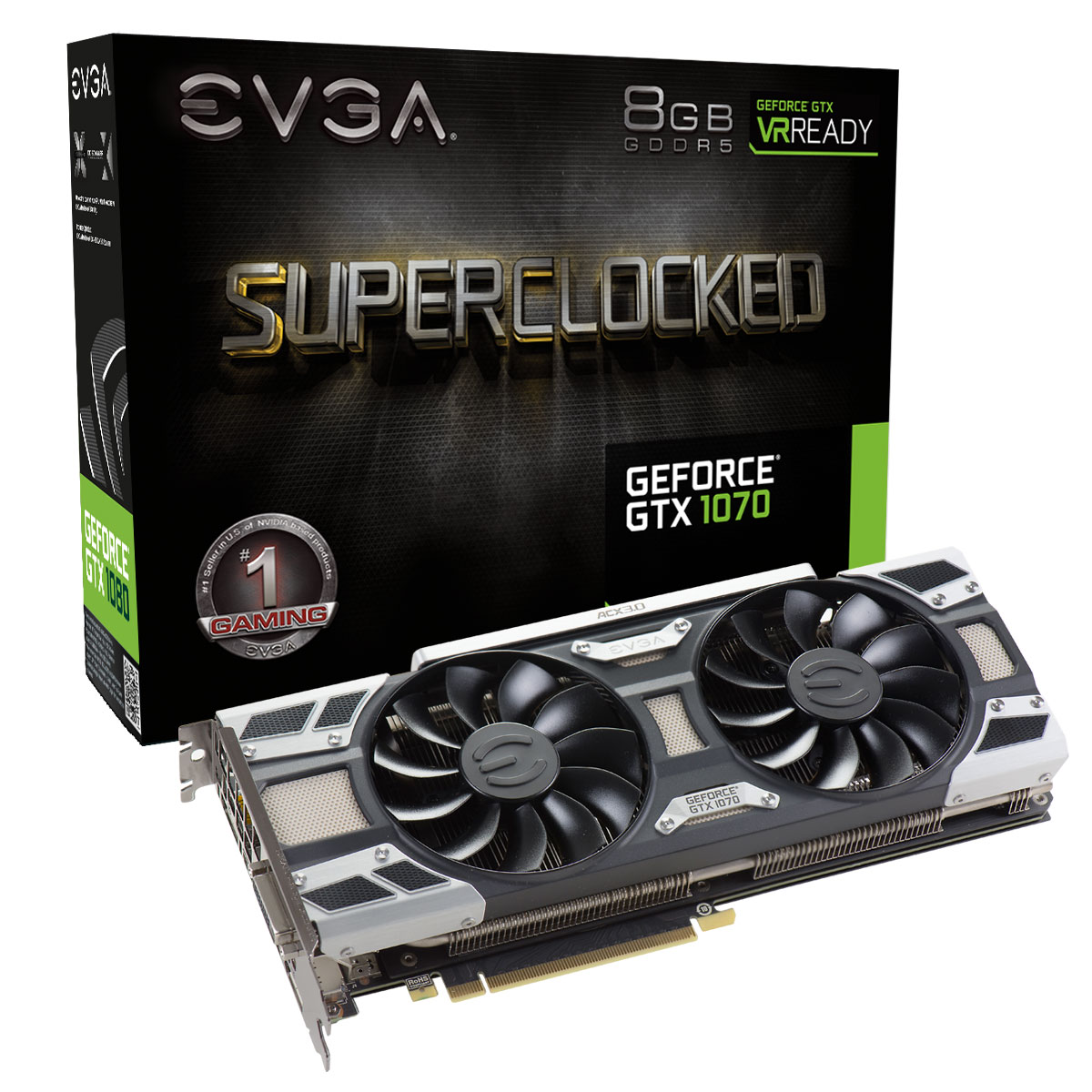 Carte graphique EVGA GeForce GTX 1070 SC GAMING ACX 3.0 8192 Mo DVI/HDMI/Tri DisplayPort - PCI Express (NVIDIA GeForce avec CUDA GTX 1070)