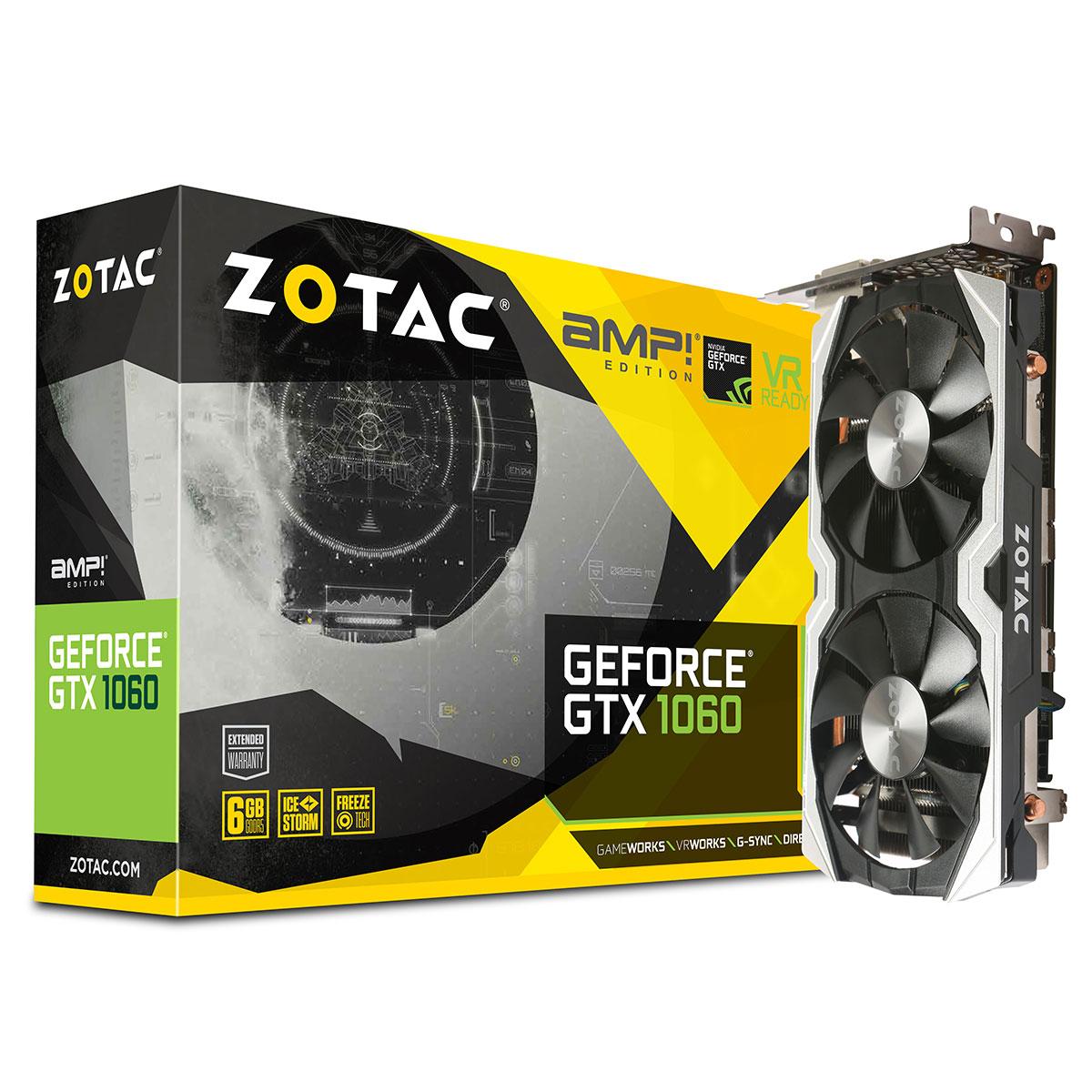 Carte graphique ZOTAC GeForce GTX 1060 AMP! Edition 6144 Mo DVI/HDMI/Tri DisplayPort - PCI Express (NVIDIA GeForce avec CUDA GTX 1060)