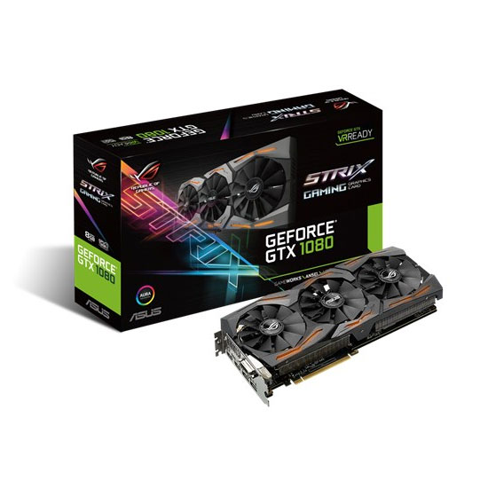 Carte graphique ASUS GeForce GTX 1080 - ROG STRIX-GTX1080-8G-GAMING 8192 Mo DVI/Dual HDMI/Dual DisplayPort - PCI Express (NVIDIA GeForce avec CUDA GTX 1080)