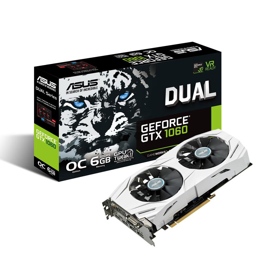 Carte graphique ASUS GeForce GTX 1060 DUAL-GTX1060-O6G 6144 Mo DVI/Dual HDMI/Dual DisplayPort - PCI Express (NVIDIA GeForce avec CUDA GTX 1060)