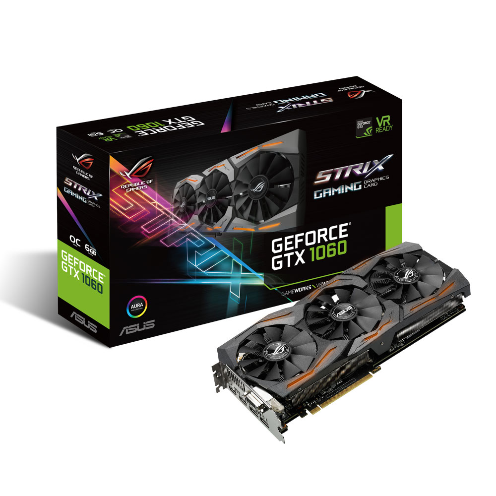 Carte graphique ASUS GeForce GTX 1060 ROG STRIX-GTX1060-O6G-GAMING 6144 Mo DVI/Dual HDMI/Dual DisplayPort - PCI Express (NVIDIA GeForce avec CUDA GTX 1060)