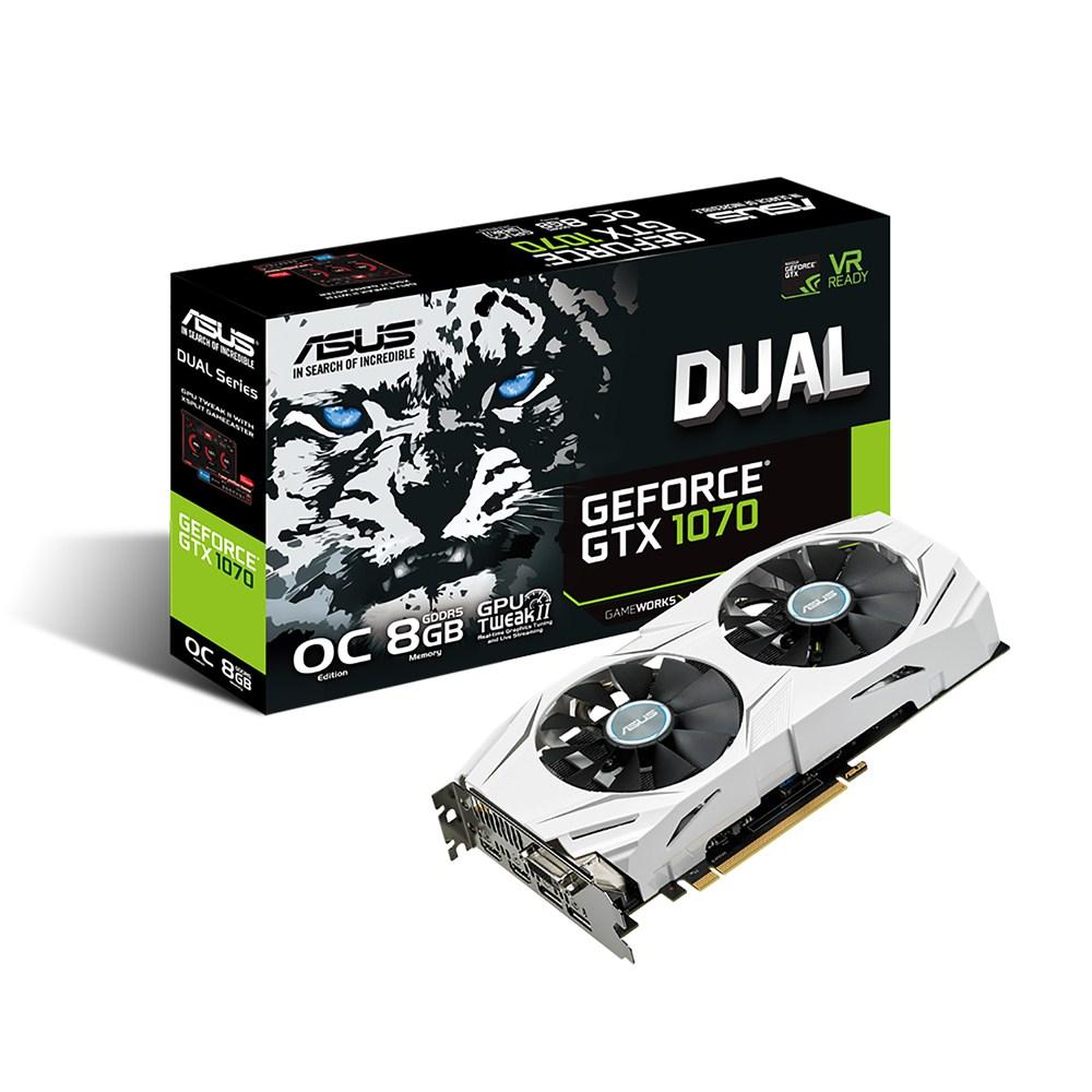 Carte graphique ASUS GeForce GTX 1070 DUAL-GTX1070-O8G 8192 Mo DVI/Dual HDMI/Dual DisplayPort - PCI Express (NVIDIA GeForce avec CUDA GTX 1070)