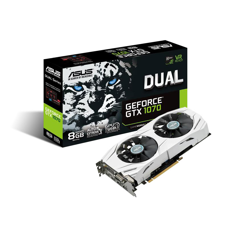 Carte graphique ASUS GeForce GTX 1070 DUAL-GTX1070-8G 8192 Mo DVI/Dual HDMI/Dual DisplayPort - PCI Express (NVIDIA GeForce avec CUDA GTX 1070)