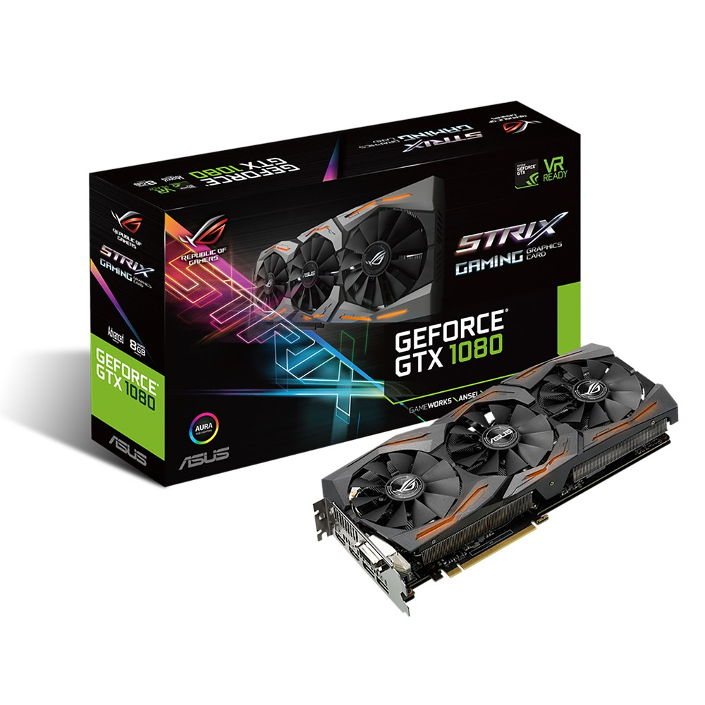 Carte graphique ASUS GeForce GTX 1080 ROG STRIX-GTX1080-A8G-GAMING 8192 Mo DVI/Dual HDMI/Dual DisplayPort - PCI Express (NVIDIA GeForce avec CUDA GTX 1080)