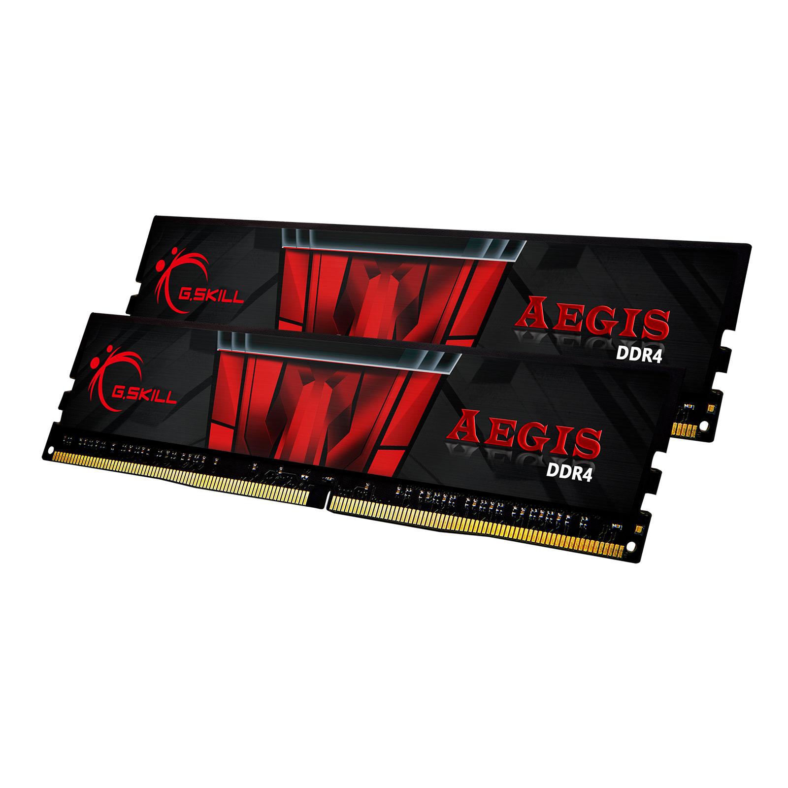 Mémoire PC G.Skill Aegis 16 Go (2 x 8 Go) DDR4 3000 MHz CL16 Kit Dual Channel 2 barrettes de RAM DDR4 PC4-24000 - F4-3000C16D-16GISB