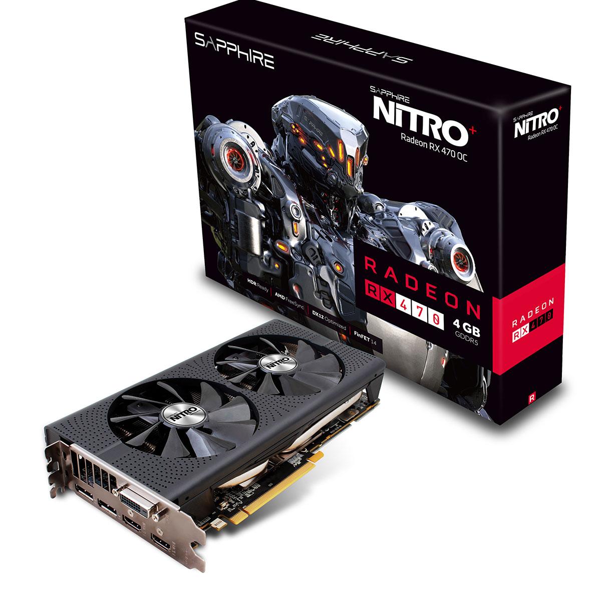 Carte graphique Sapphire NITRO+ Radeon RX 470 4GD5 (UEFI) OC 4 Go DVI/Dual HDMI/Dual DisplayPort - PCI Express (AMD Radeon RX 470)