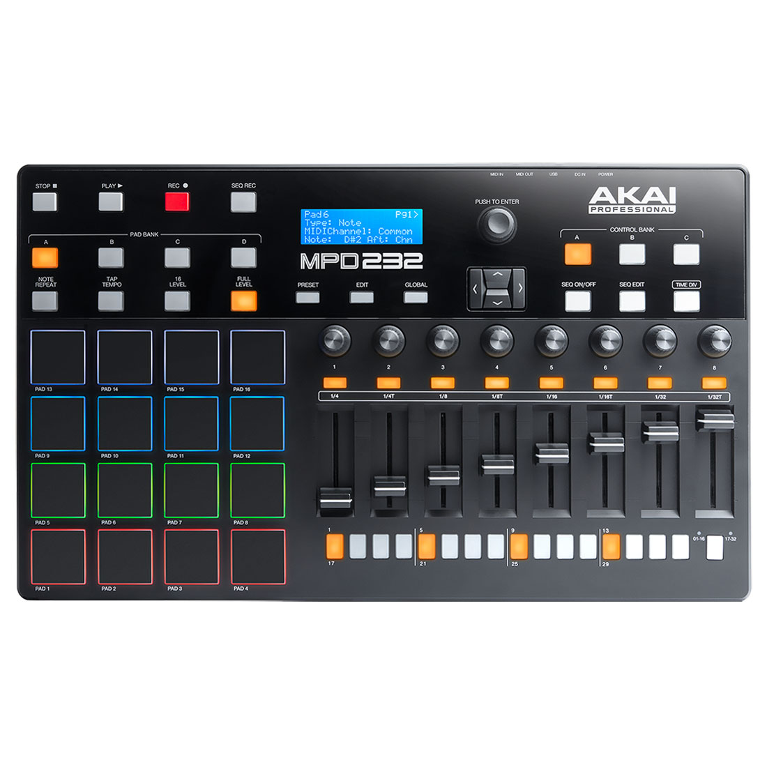 Akai pro mpd232 table de mixage akai professional sur for Table de mixage zmx 52