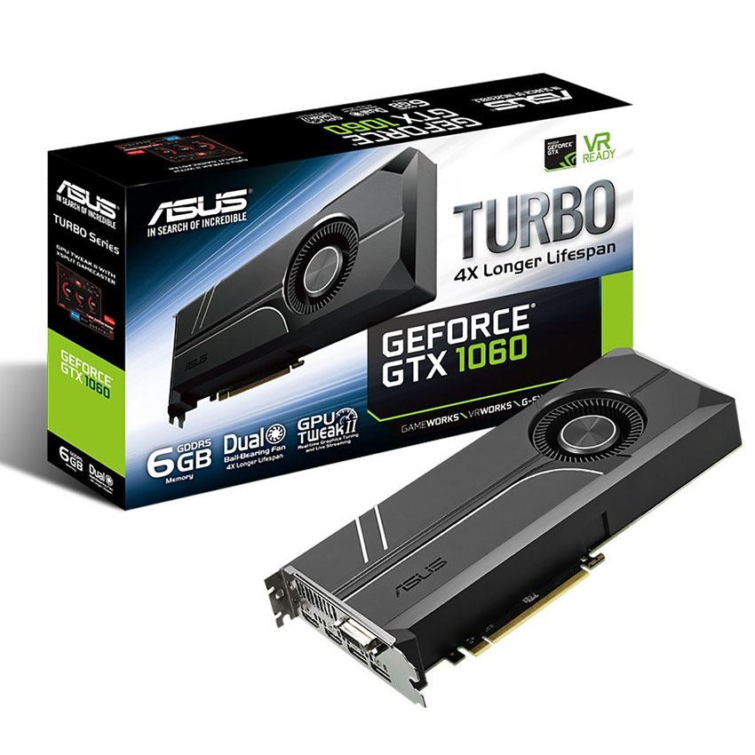 Carte graphique ASUS GeForce GTX 1060 TURBO-GTX1060-6G 6144 Mo DVI/Dual HDMI/Dual DisplayPort - PCI Express (NVIDIA GeForce avec CUDA GTX 1060)