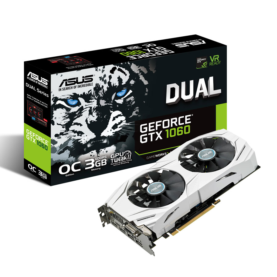 Carte graphique ASUS GeForce GTX 1060 OC Edition DUAL-GTX1060-O3G 3072 Mo DVI/Dual HDMI/Dual DisplayPort - PCI Express (NVIDIA GeForce avec CUDA GTX 1060)