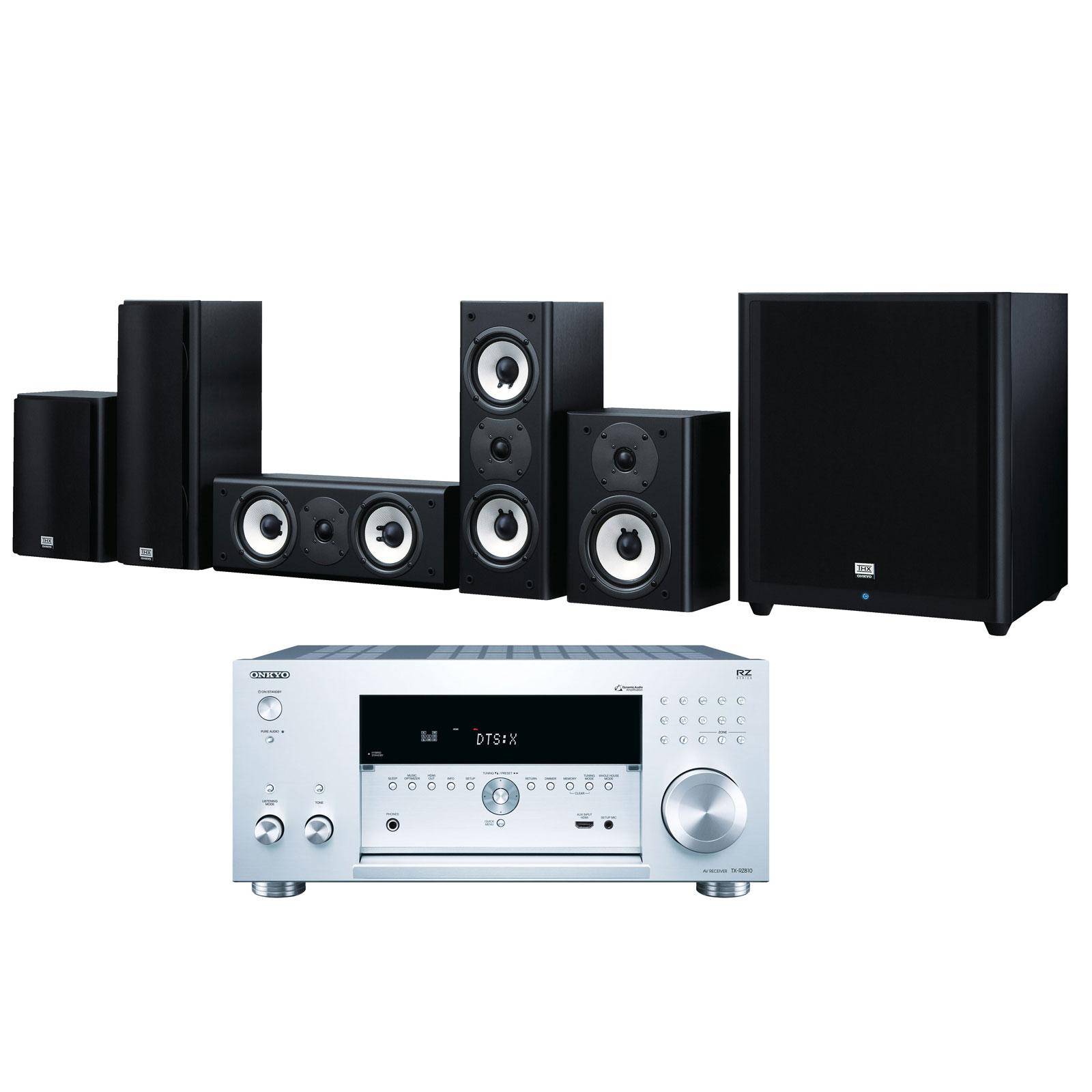 Ensemble home cinéma Onkyo TX-RZ810 Argent + SKS-HT978THX Ampli-tuner Home Cinéma 7.2 - THX - Bluetooth - AirPlay - Wi-Fi - Dolby Atmos - DTS:X - 4K - HDCP 2.2 - HDR - Hi-Res Audio - 8 entrées HDMI + Pack d'enceintes 5.1 certification THX
