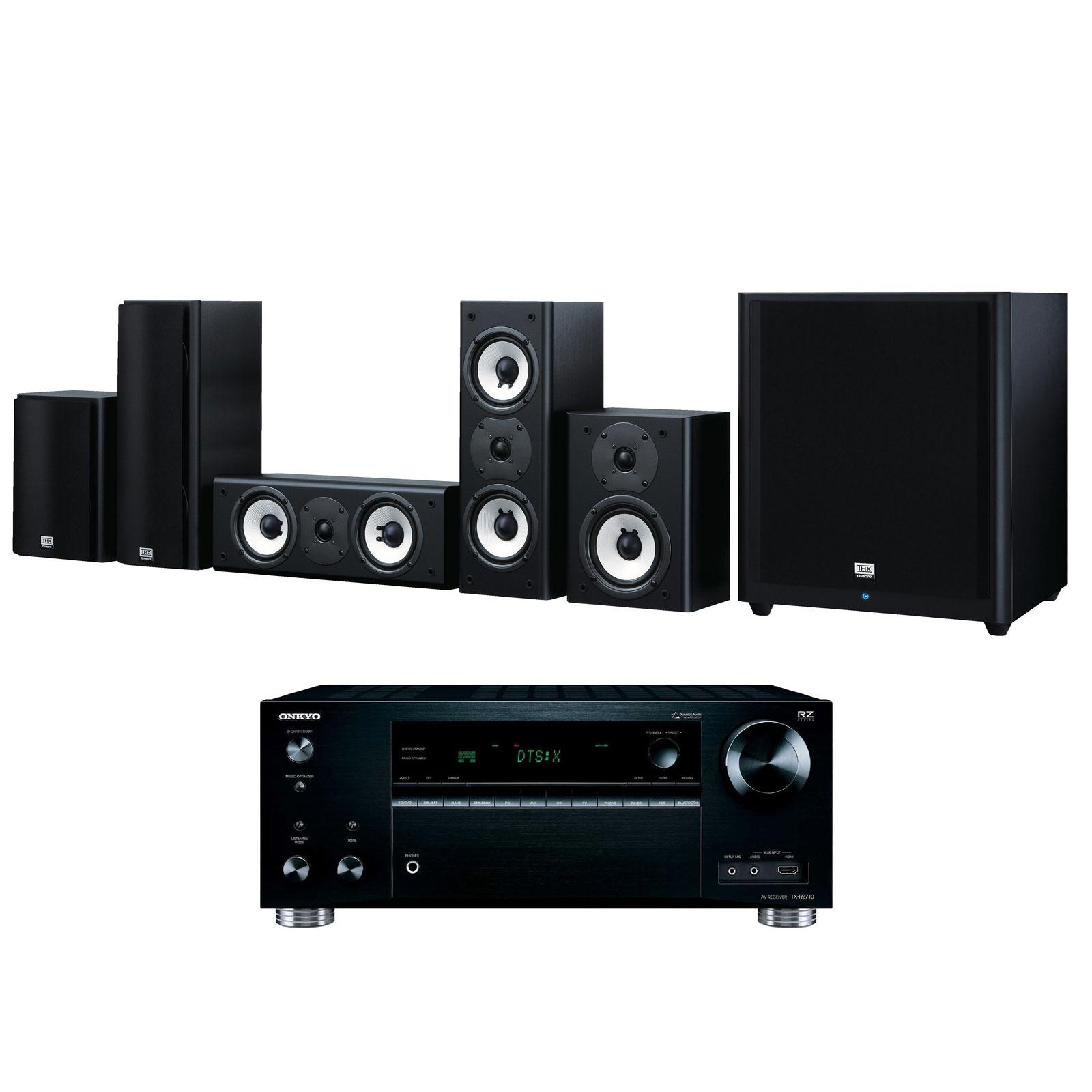 Ensemble home cinéma Onkyo TX-RZ710 Noir + SKS-HT978THX Ampli-tuner Home Cinéma 7.2 - THX - Bluetooth - Wi-Fi - Dolby Atmos - DTS:X - HDCP 2.2 - Hi-Res Audio - 8 entrées HDMI + Pack d'enceintes 5.1 certification THX
